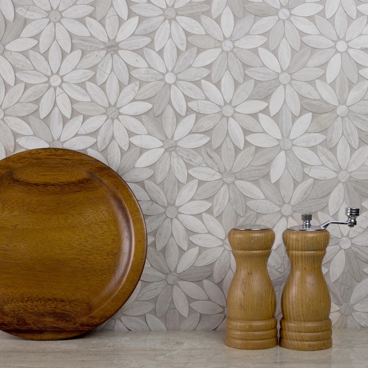 Marble 4 In X 4 In Marble Flower Waterjet Mosaic In Royal