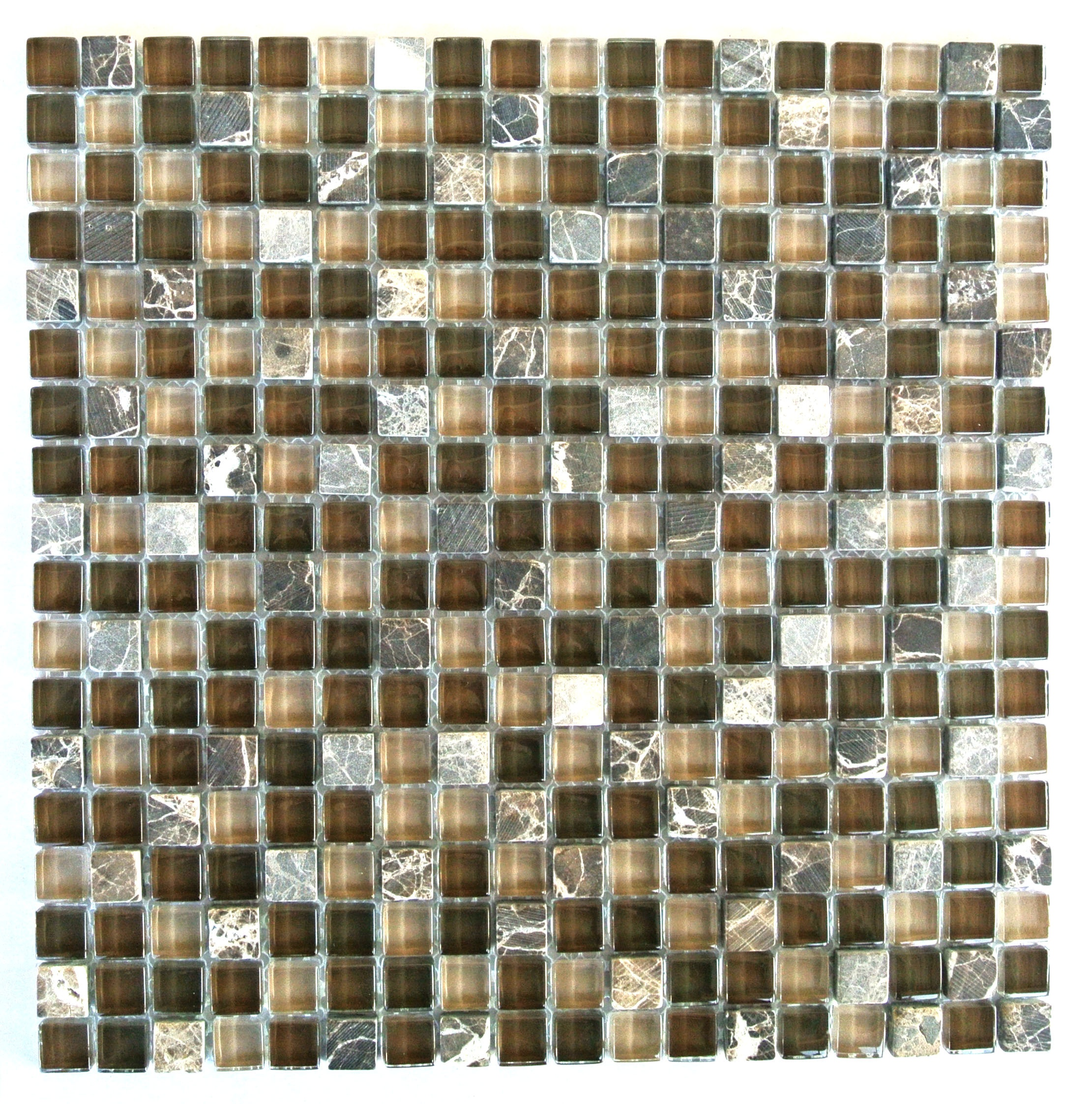 "Quartz 0.625"" x 0.625"" Multi Finish Brown Glass and Stone Square Backsplash Mosaic Wall & Floor Tile"