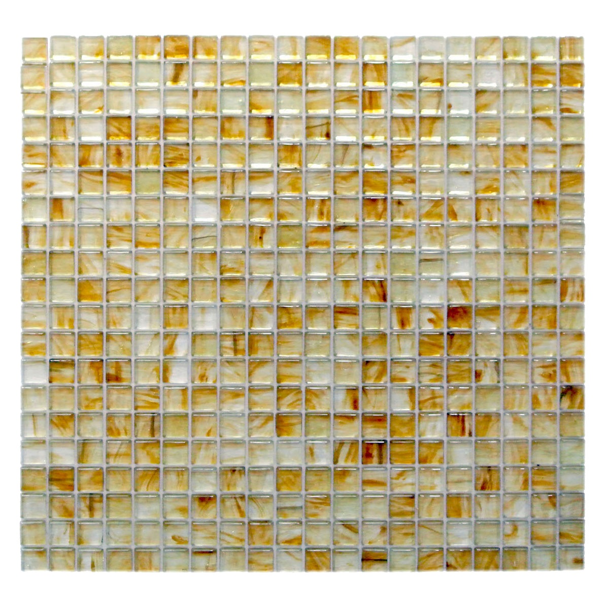 "Amber 0.625"" x 0.625"" Glossy Gold Glass Square Backsplash Mosaic Wall Tile"