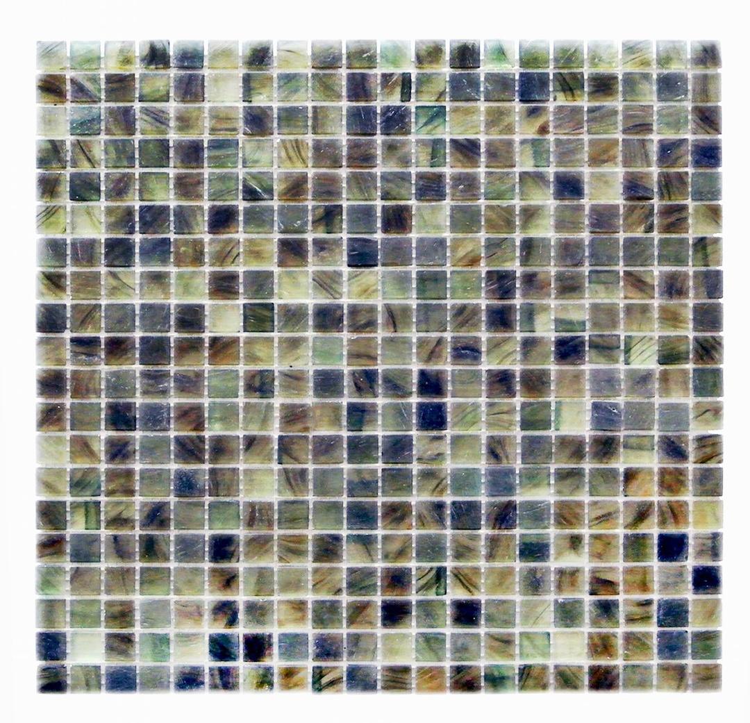 "Amber 0.625"" x 0.625"" Glossy Green Glass Square Backsplash Mosaic Wall Tile"
