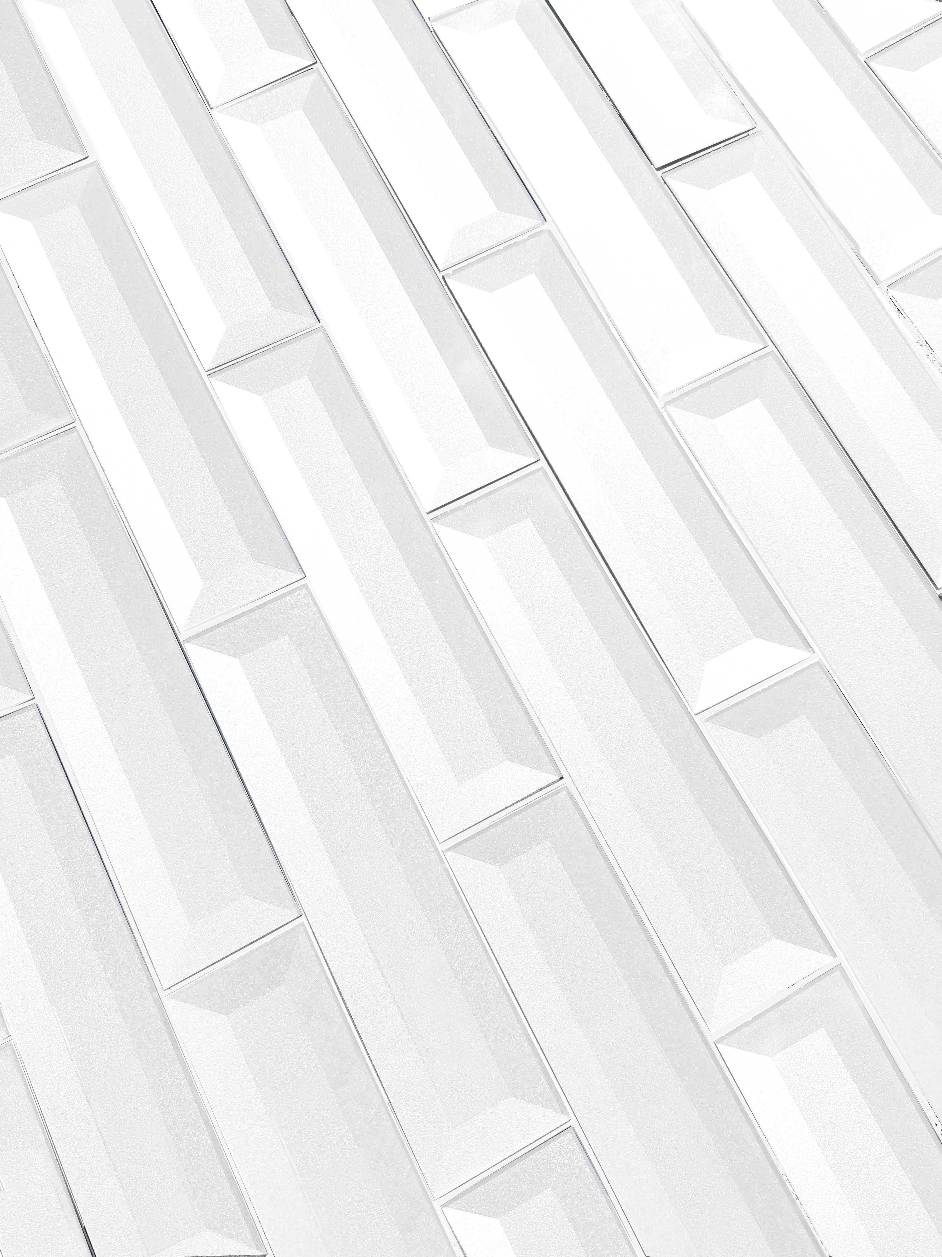 "Forever 2"" x 8"" Beveled White Glass Loose Backsplash Wall Tile"