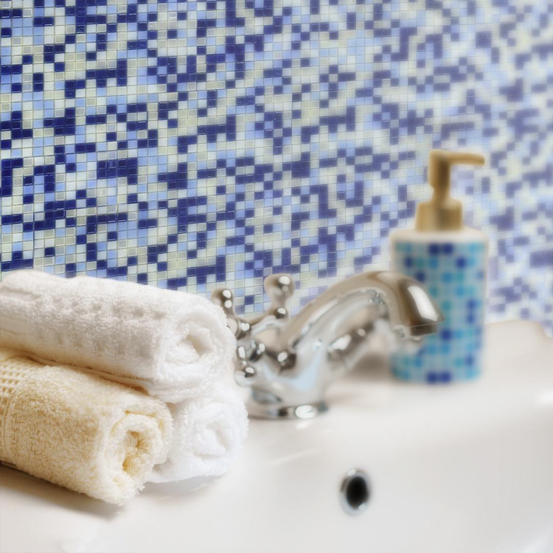 "Galaxy 0.31"" x 0.31"" Iridescent Blue Glass Straight Backsplash Mosaic Wall & Floor Tile"