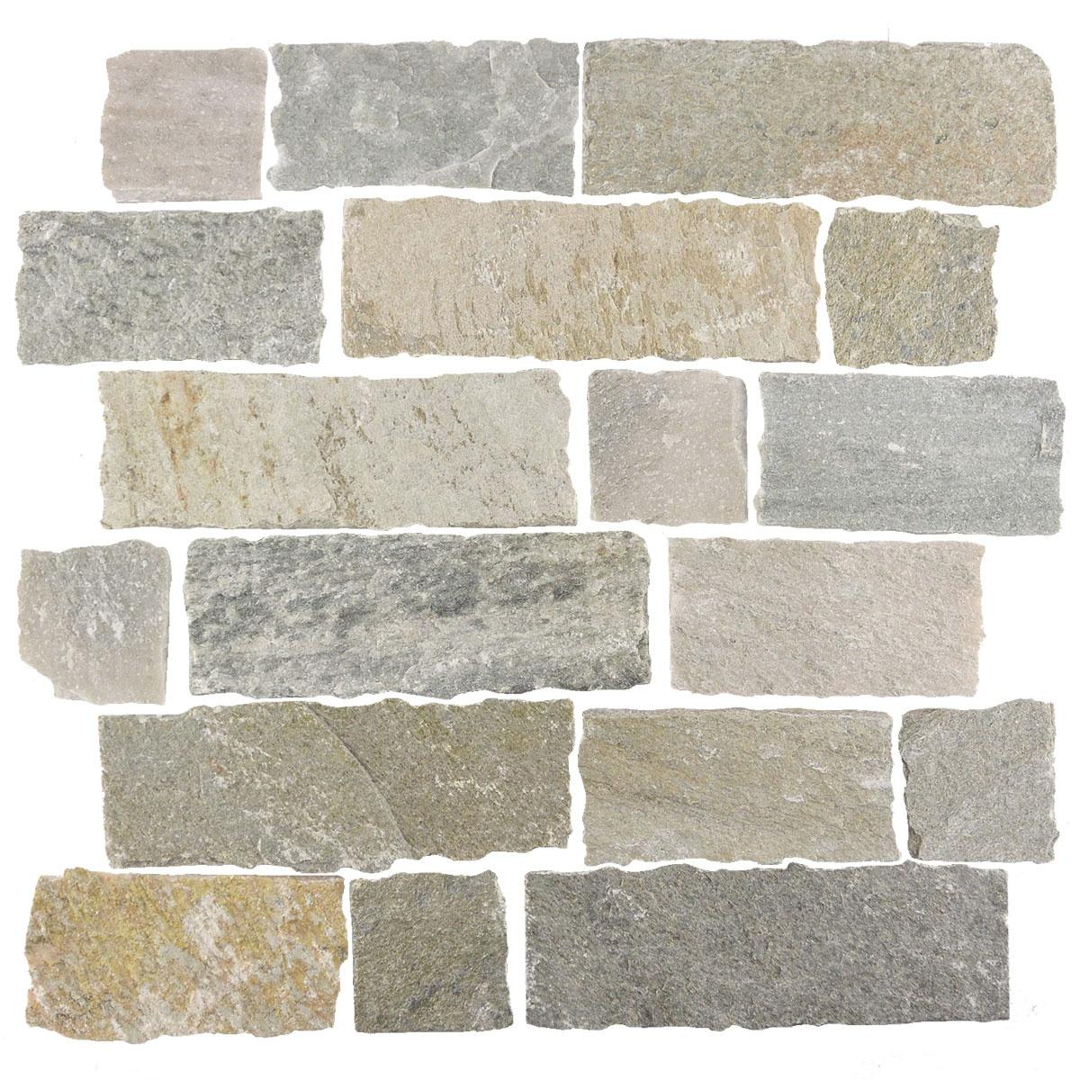 "Ardesia 2"" x 3"" Split Face Beige Slate Linear Backsplash Mosaic Wall & Floor Tile"