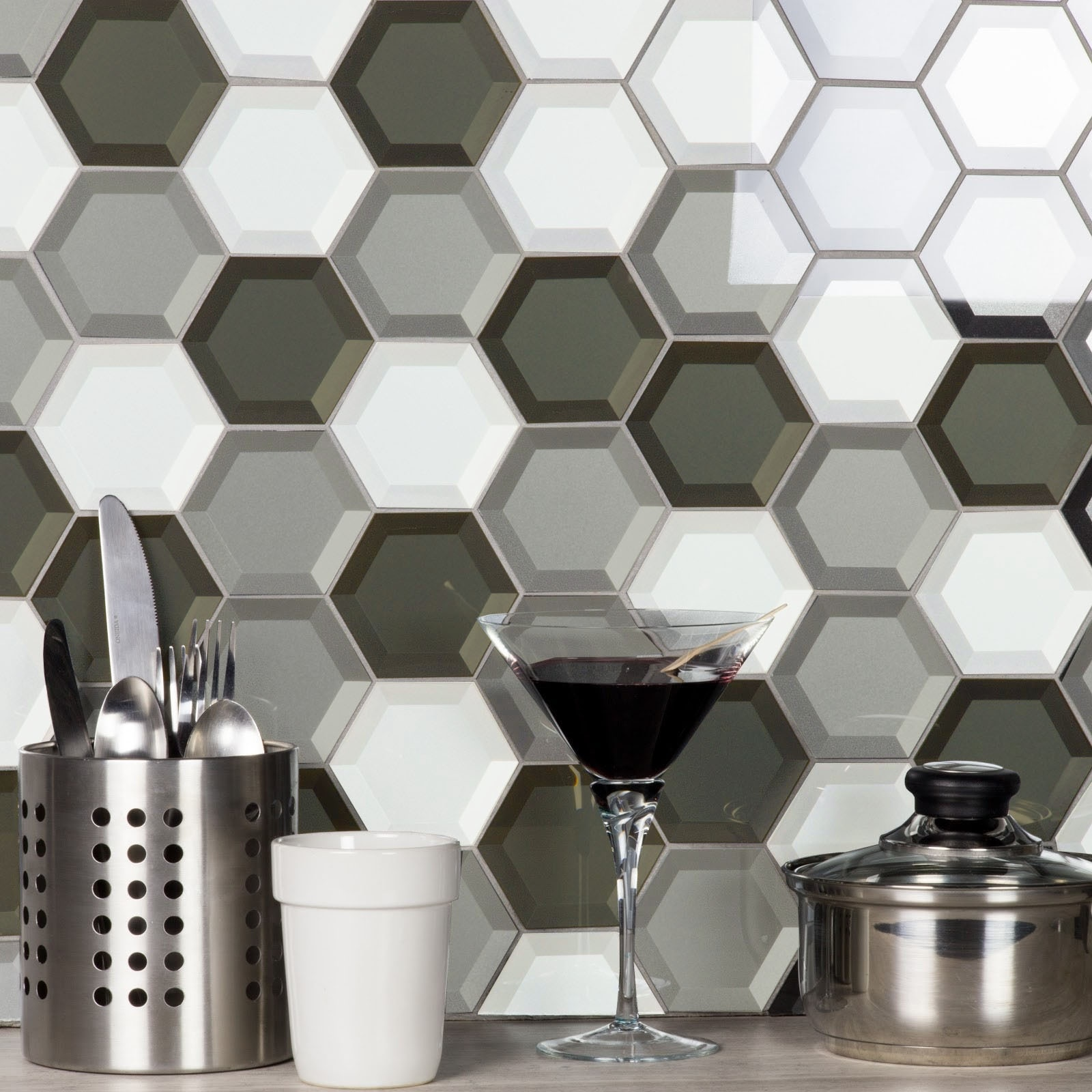 "Forever 3"" x 3"" Beveled Gray Glass Hexagon Backsplash Mosaic Wall Tile"