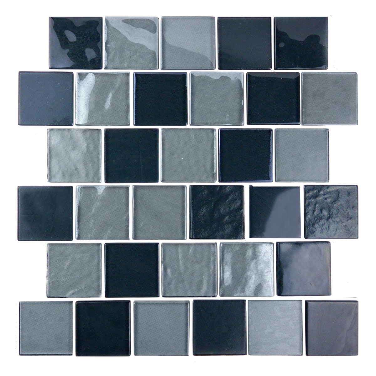 "Landscape 2"" x 2"" Textured Gray Glass Brick Backsplash Mosaic Wall & Floor Tile"