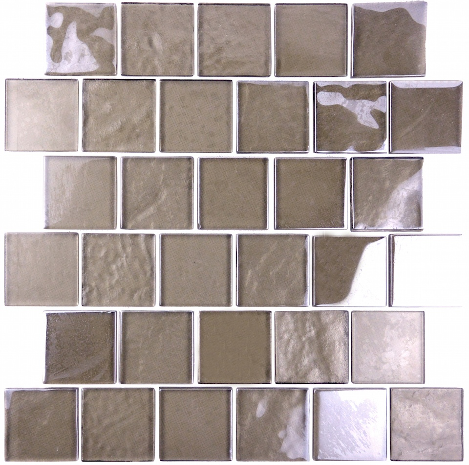 "Landscape 2"" x 2"" Textured Bronze Glass Brick Backsplash Mosaic Wall & Floor Tile"