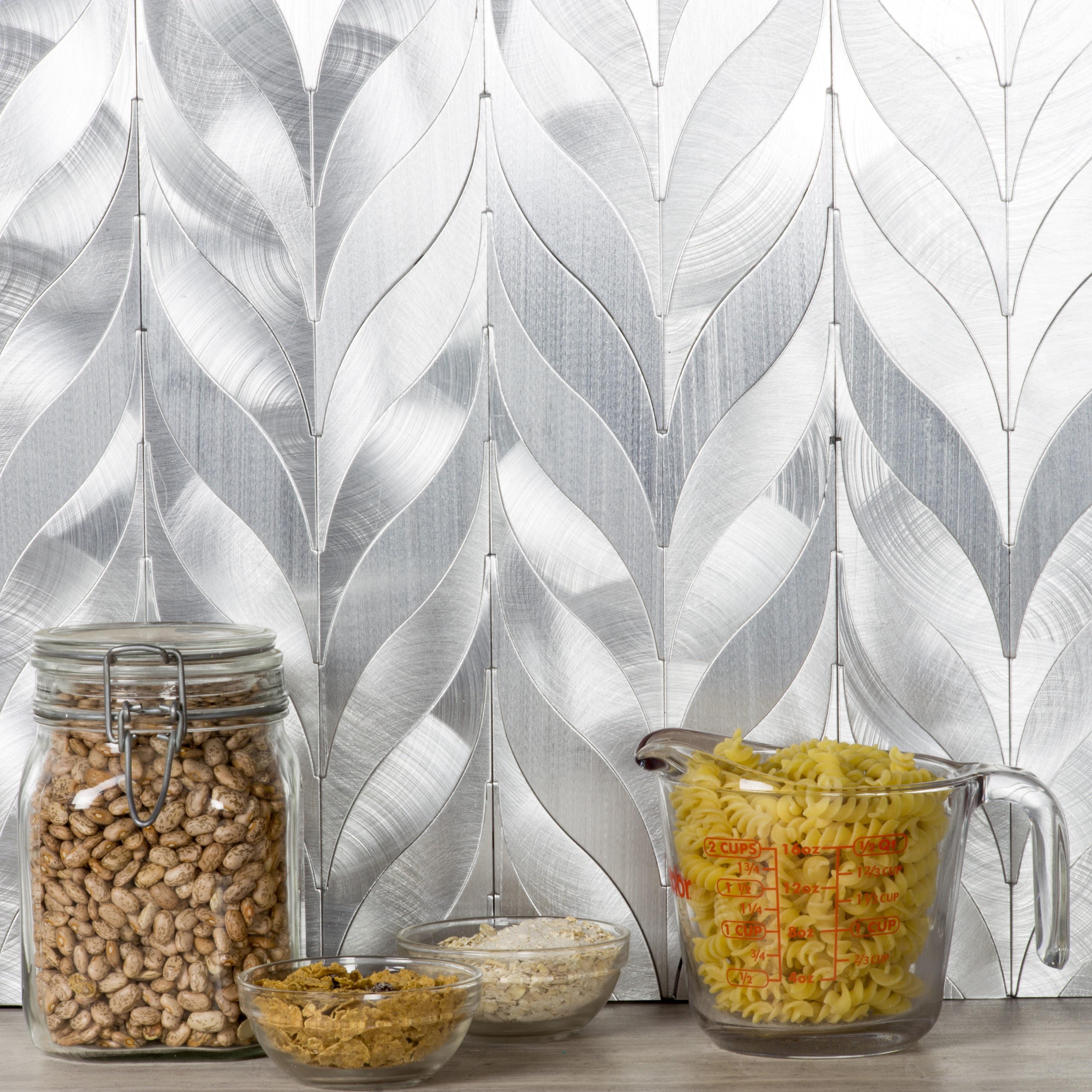 "Enchanted Metals 1.25"" x 7.5"" Brushed Silver Aluminum Mermaid Backsplash Mosaic Wall Tile"