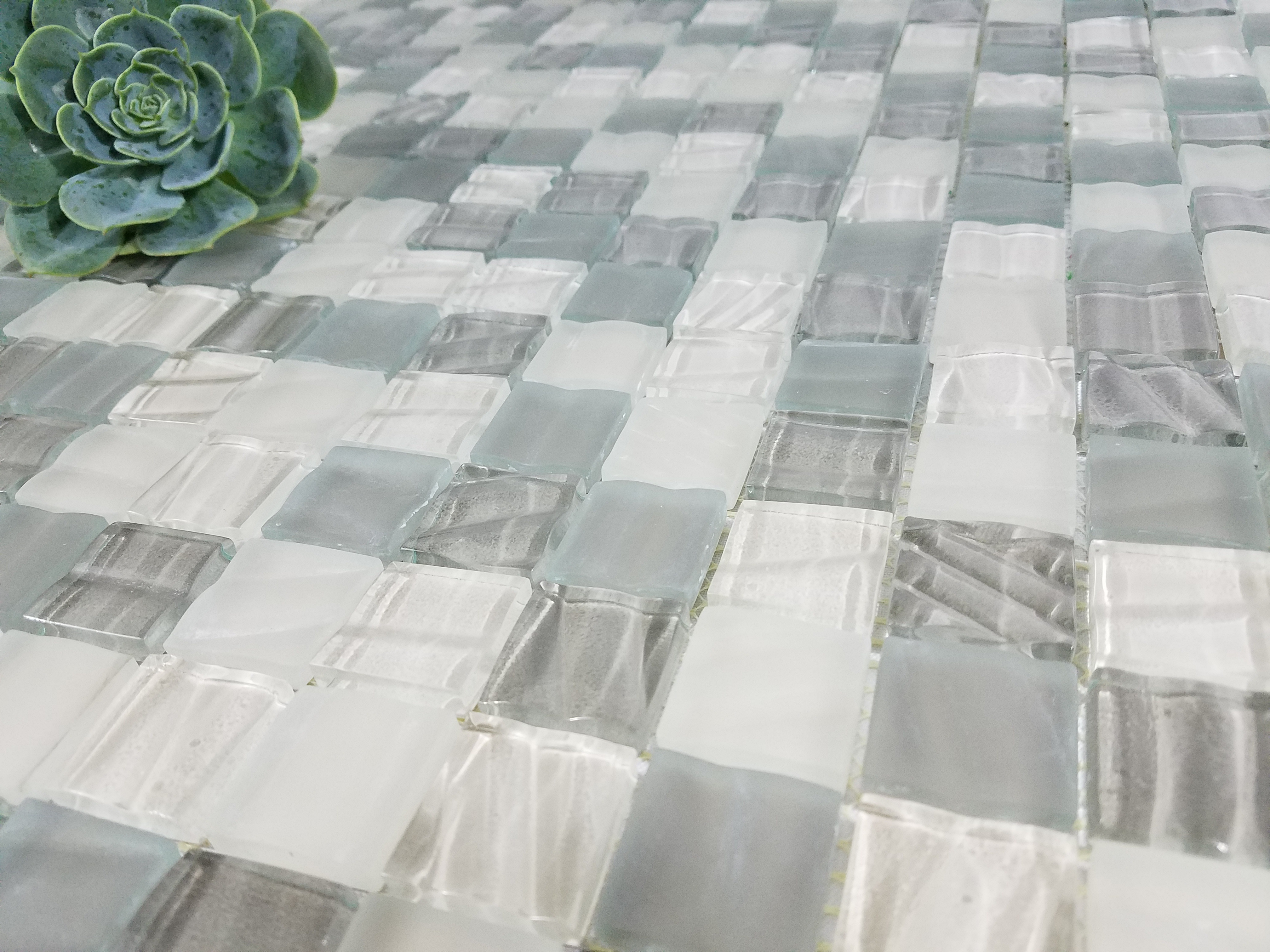 "New Era 1"" x 1"" Glossy Gray Glass Square Backsplash Mosaic Wall & Floor Tile"