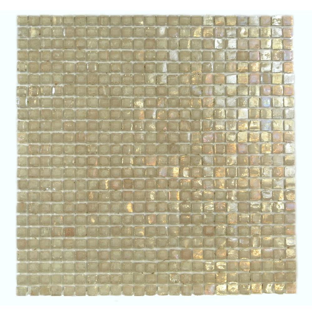 "Classic 0.375"" x 0.375"" Iridescent Beige Glass Square Backsplash Mosaic Wall Tile"