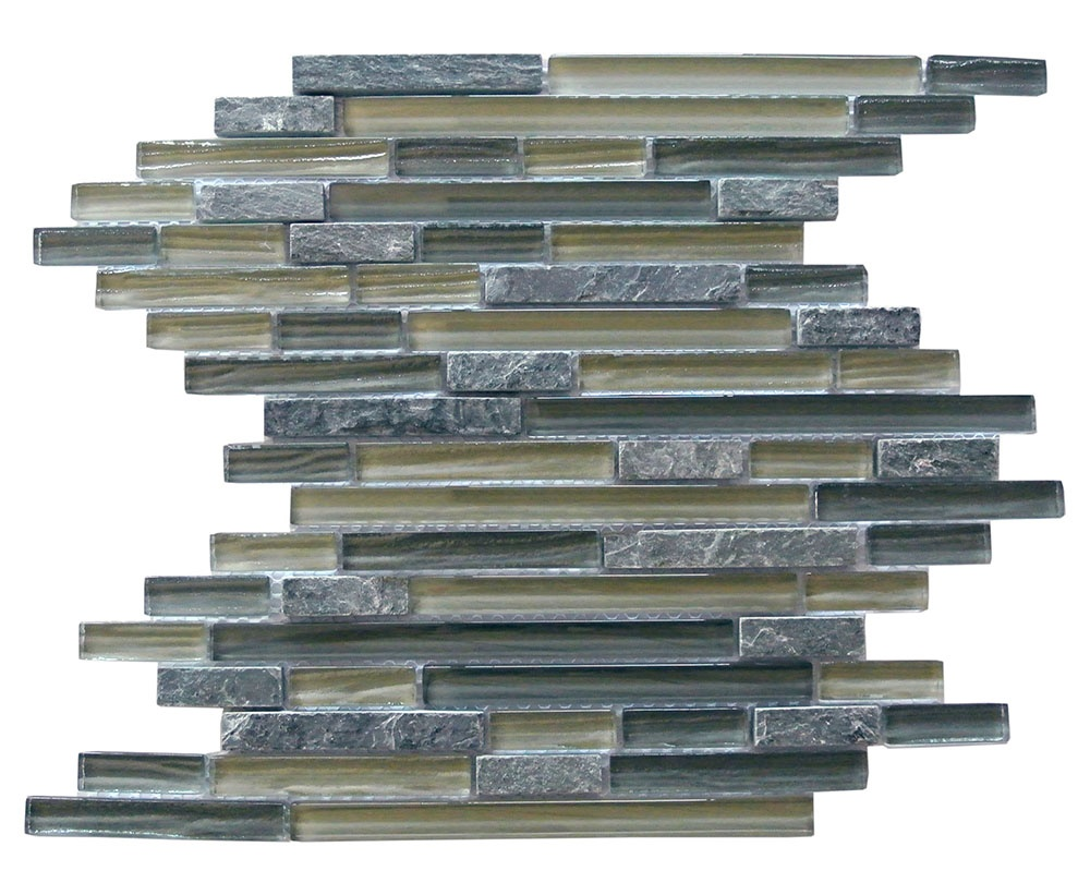 "Bark 0.5"" x 3"" Multi Finish Green Glass and Stone Linear Backsplash Mosaic Wall Tile"