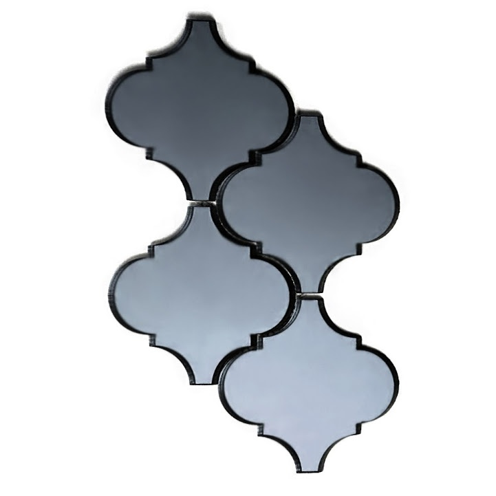 "Reflections 5.625"" x 5.625"" Glossy Gray Mirror Arabesque Waterjet Backsplash Mosaic Wall Tile"