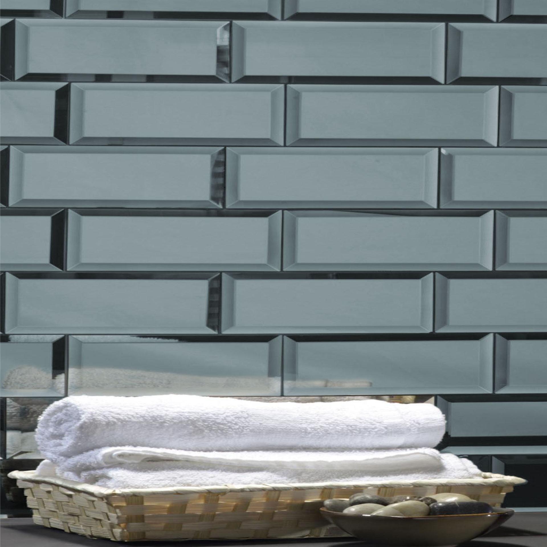 "Reflections 3"" x 12"" Glossy Gray Mirror Subway Backsplash Wall Tile"