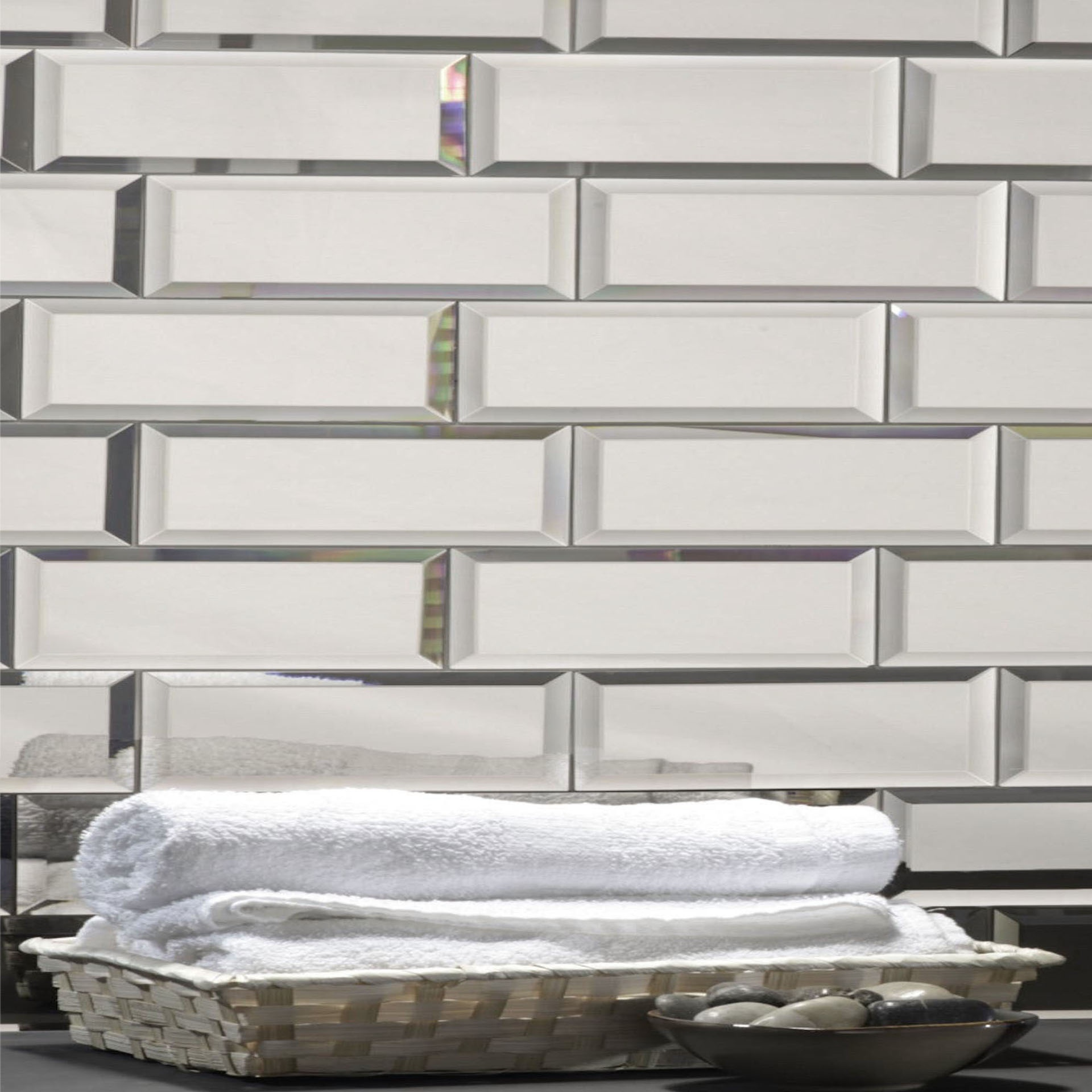 "Reflections 3"" x 12"" Glossy Silver Mirror Subway Backsplash Wall Tile"