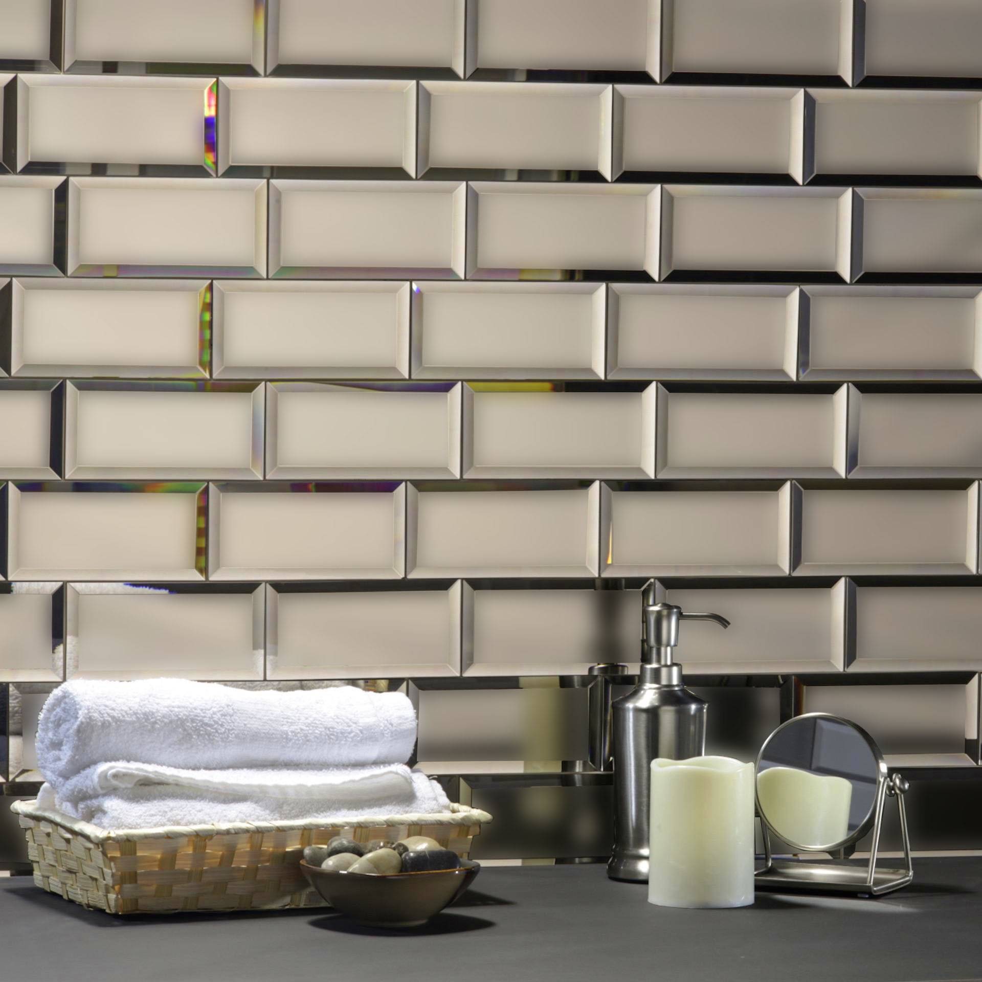 "Reflections 3"" x 6"" Matte Gold Mirror Subway Backsplash Wall Tile"