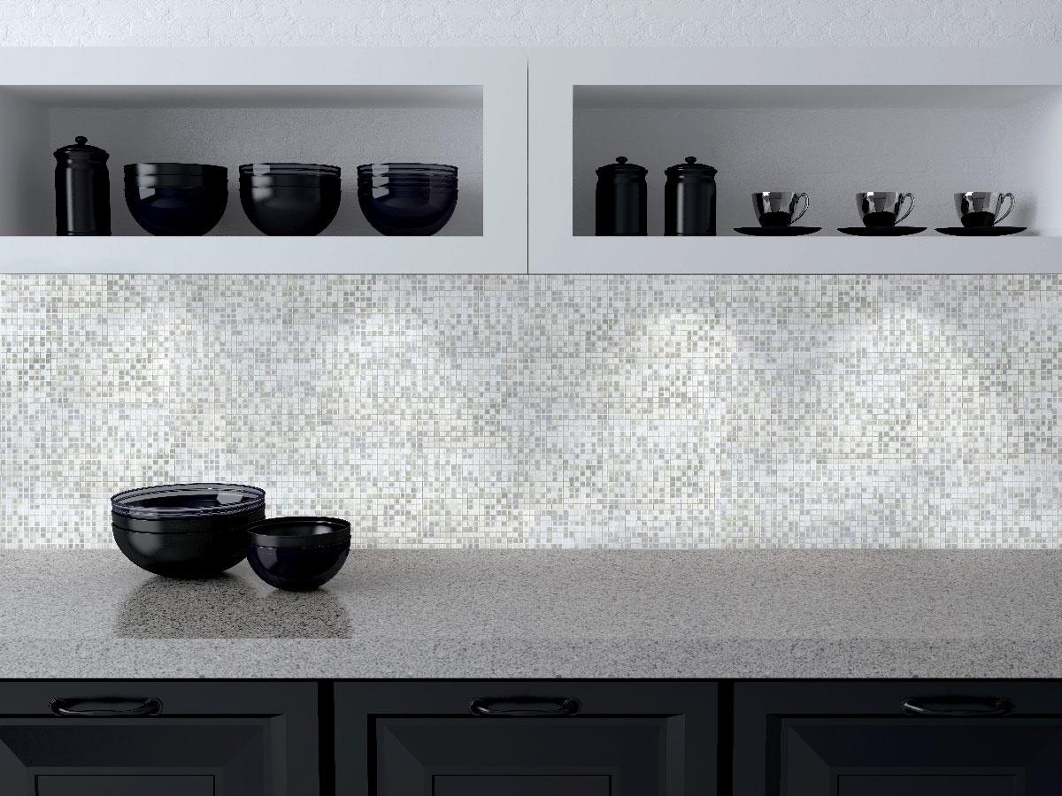 "Galaxy 0.31"" x 0.31"" Iridescent Gray Glass Straight Backsplash Mosaic Wall & Floor Tile"