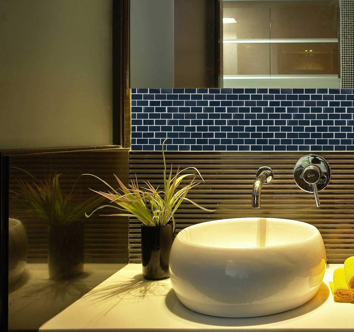 "Landscape 1"" x 2"" Textured Black Glass Brick Backsplash Mosaic Wall & Floor Tile"