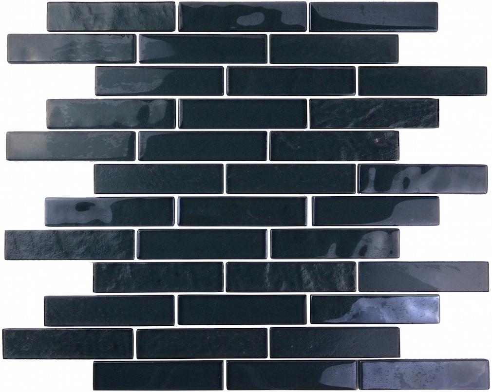 "Landscape 1"" x 4"" Textured Black Glass Linear Backsplash Mosaic Wall & Floor Tile"