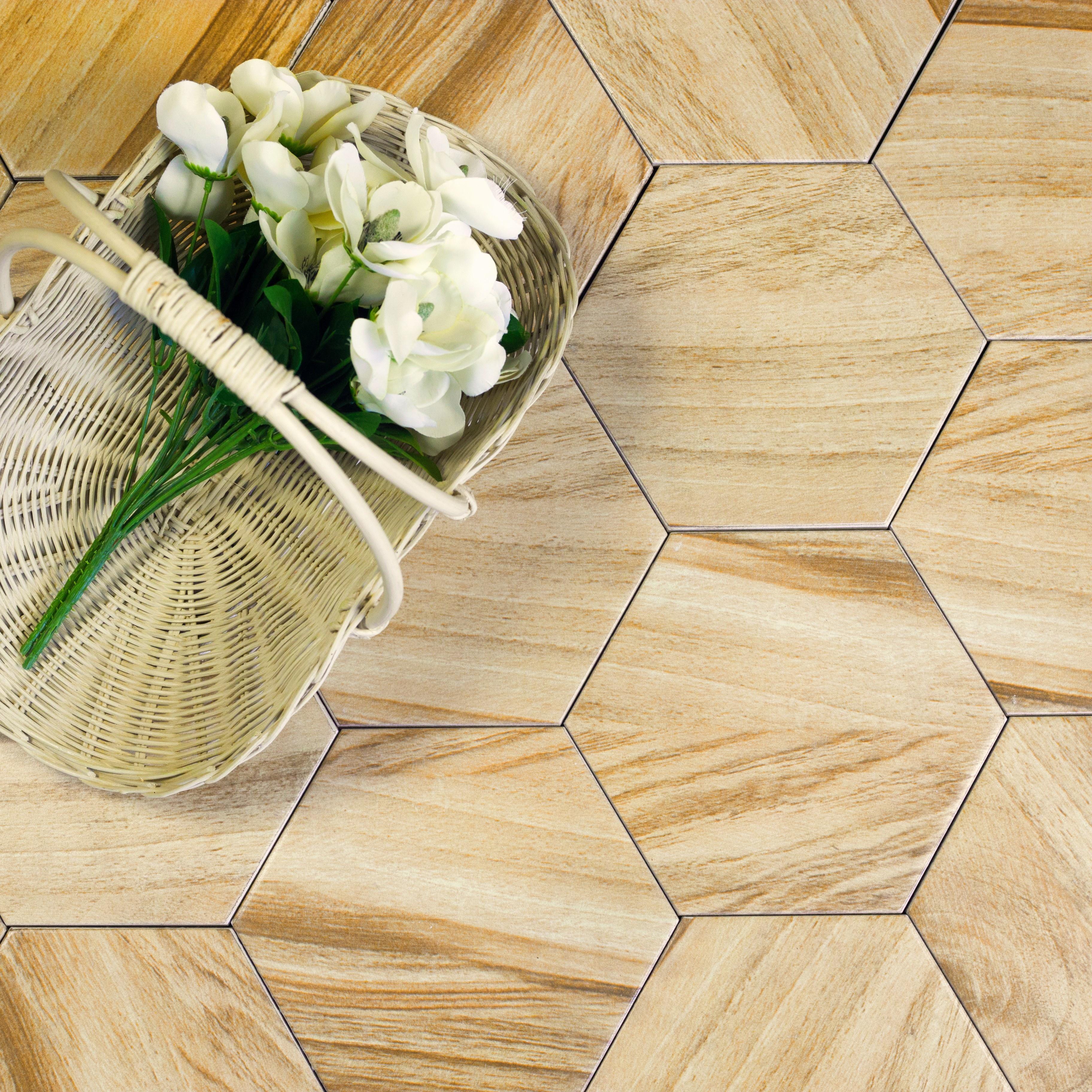 "Artisan Wood 8"" x 8"" Matte Beige Ceramic Hexagon Backsplash Wall & Floor Tile"