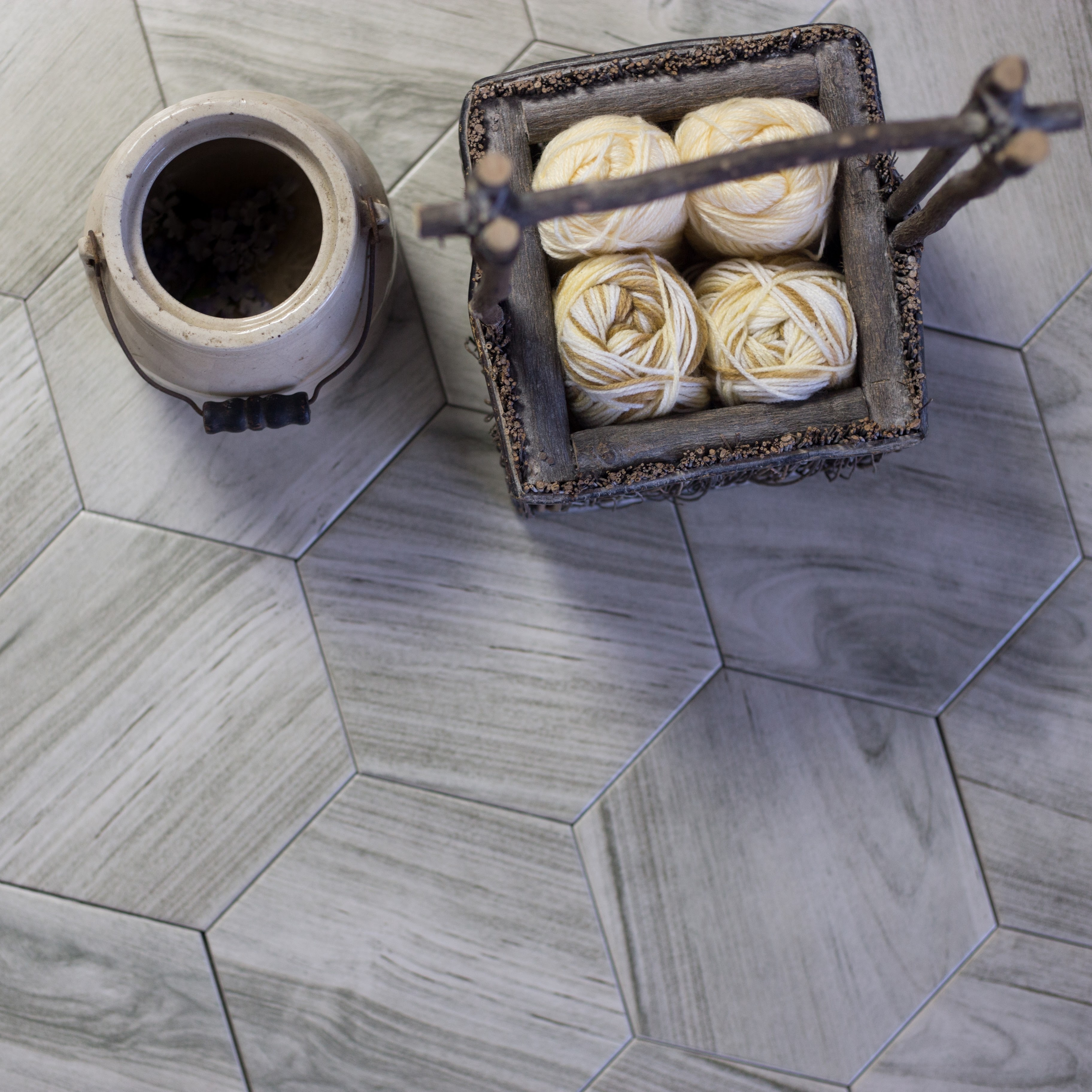 Artisan Wood 8 X 8 Ceramic Hexagon Wood Look Tile In Smoke Gray