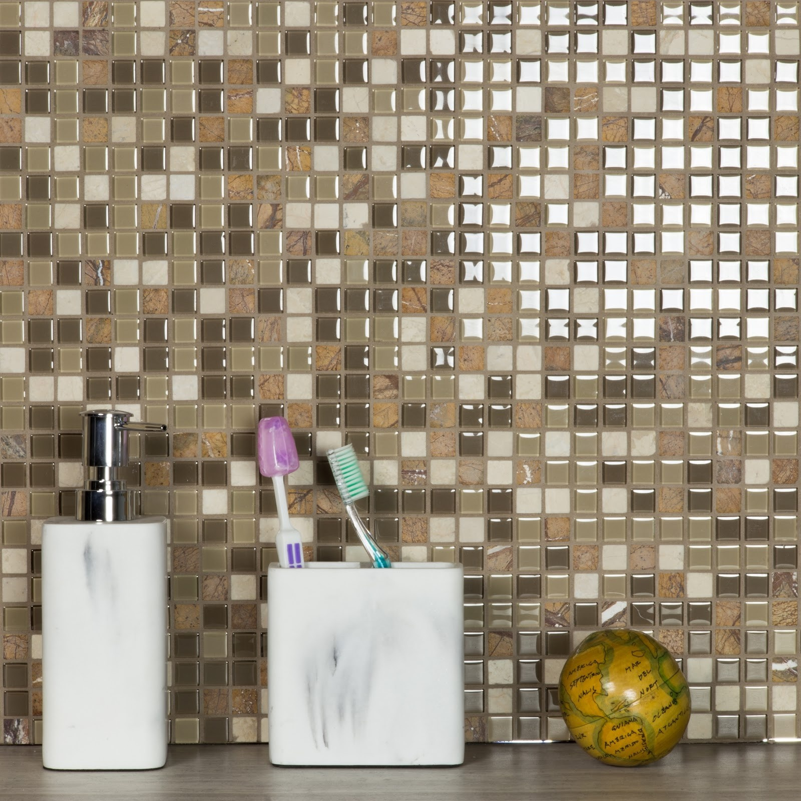 "Crystal Stone 0.625"" x 0.625"" Multi Finish Brown Glass and Stone Square Backsplash Mosaic Wall Tile"