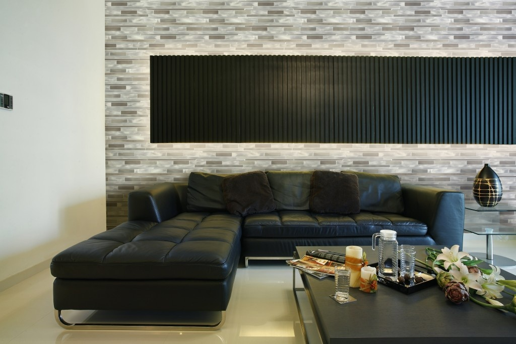 "City Lights 0.75"" x 3"" Brushed Gray Aluminum Metal Wide Linear Backsplash Mosaic Wall Tile"