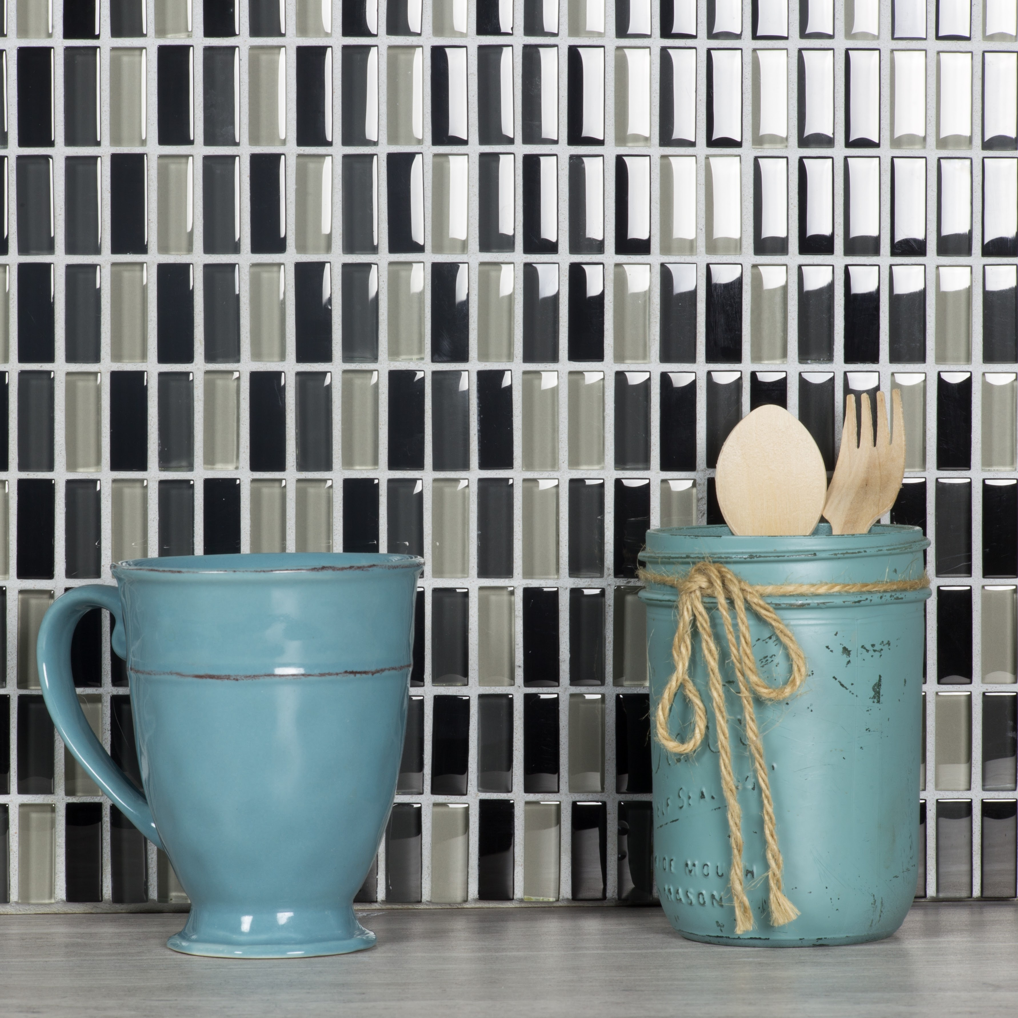 "Epiphany 0.5"" x 1.25"" Glossy Black Glass Mosaic Backsplash Mosaic Wall & Floor Tile"