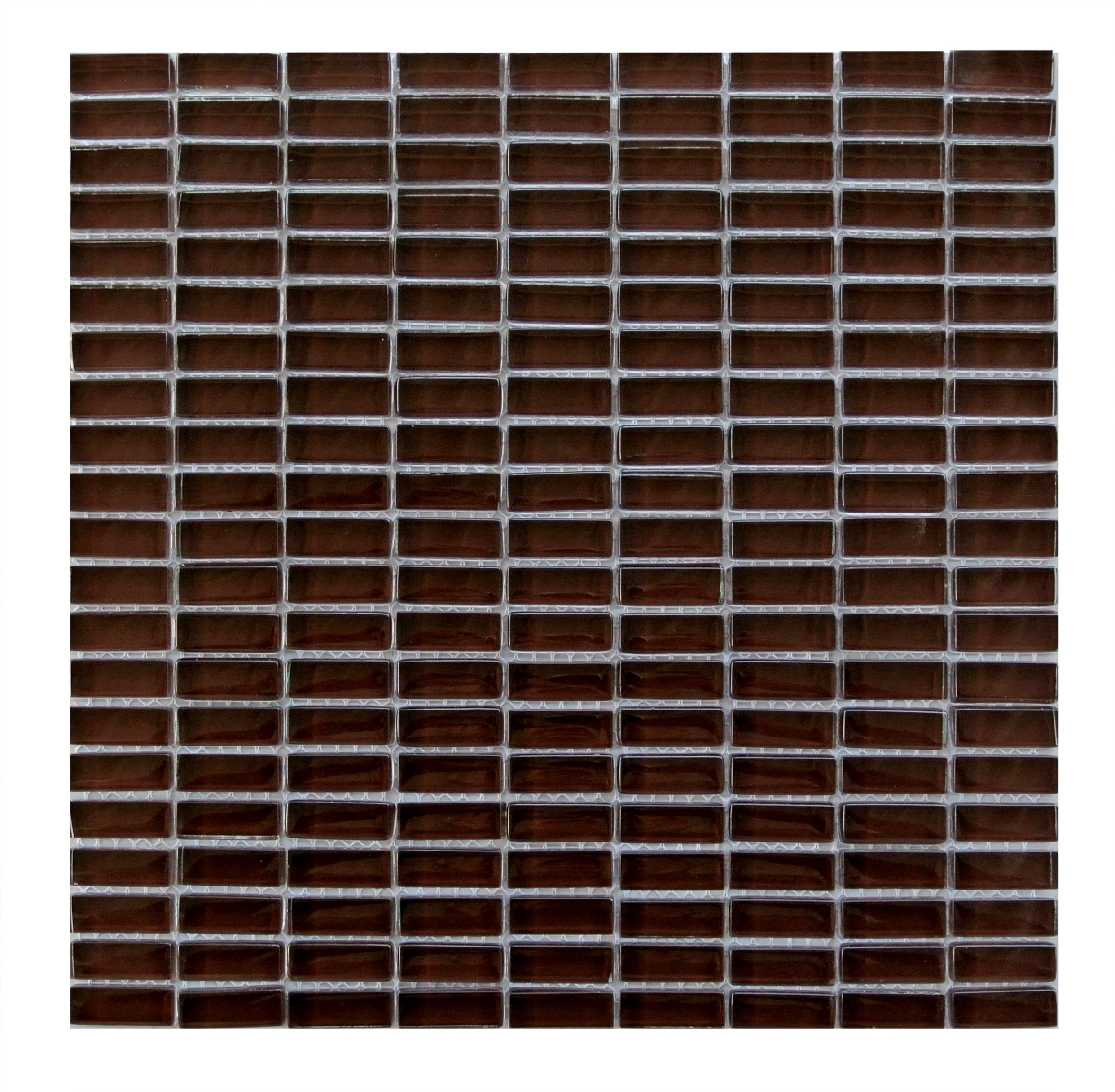 "Epiphany 0.5"" x 1.25"" Glossy Brown Glass Rectangle Backsplash Mosaic Wall Tile"