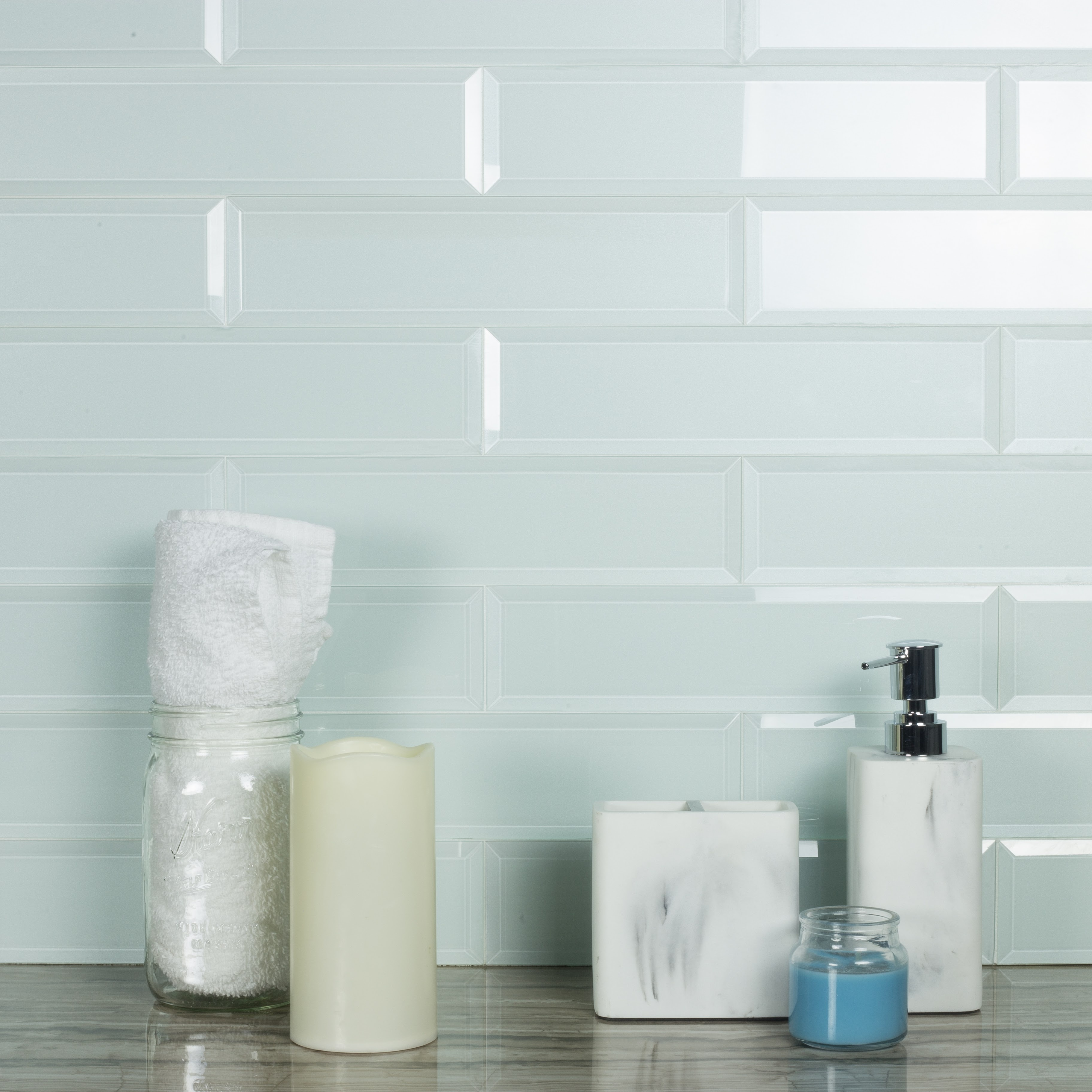 Frosted Elegance 3 In X 12 In Glass Subway Tile In Catherine Glossy