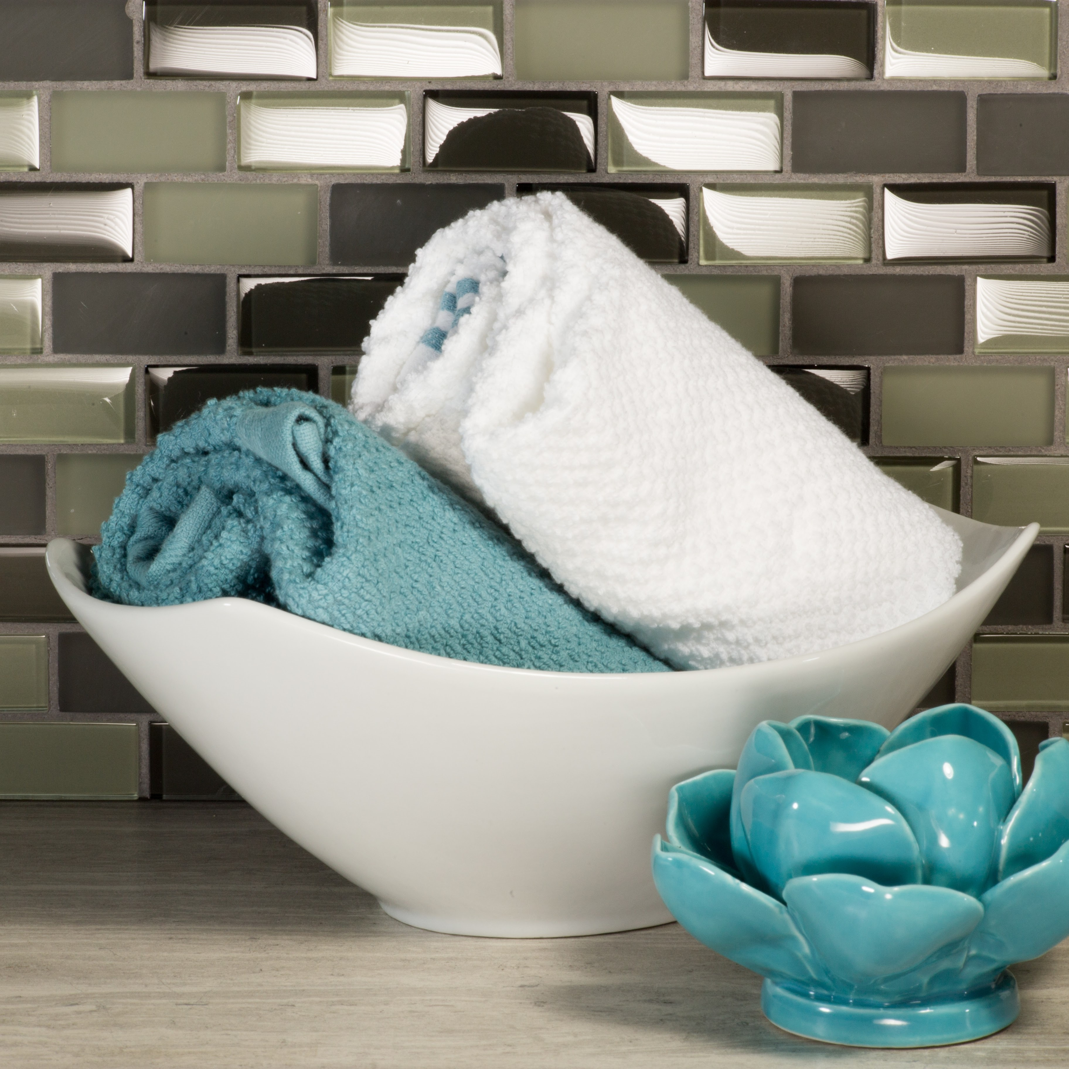 "Free Flow 1"" x 2"" Multi Finish Gray Glass Brick Backsplash Mosaic Wall & Floor Tile"