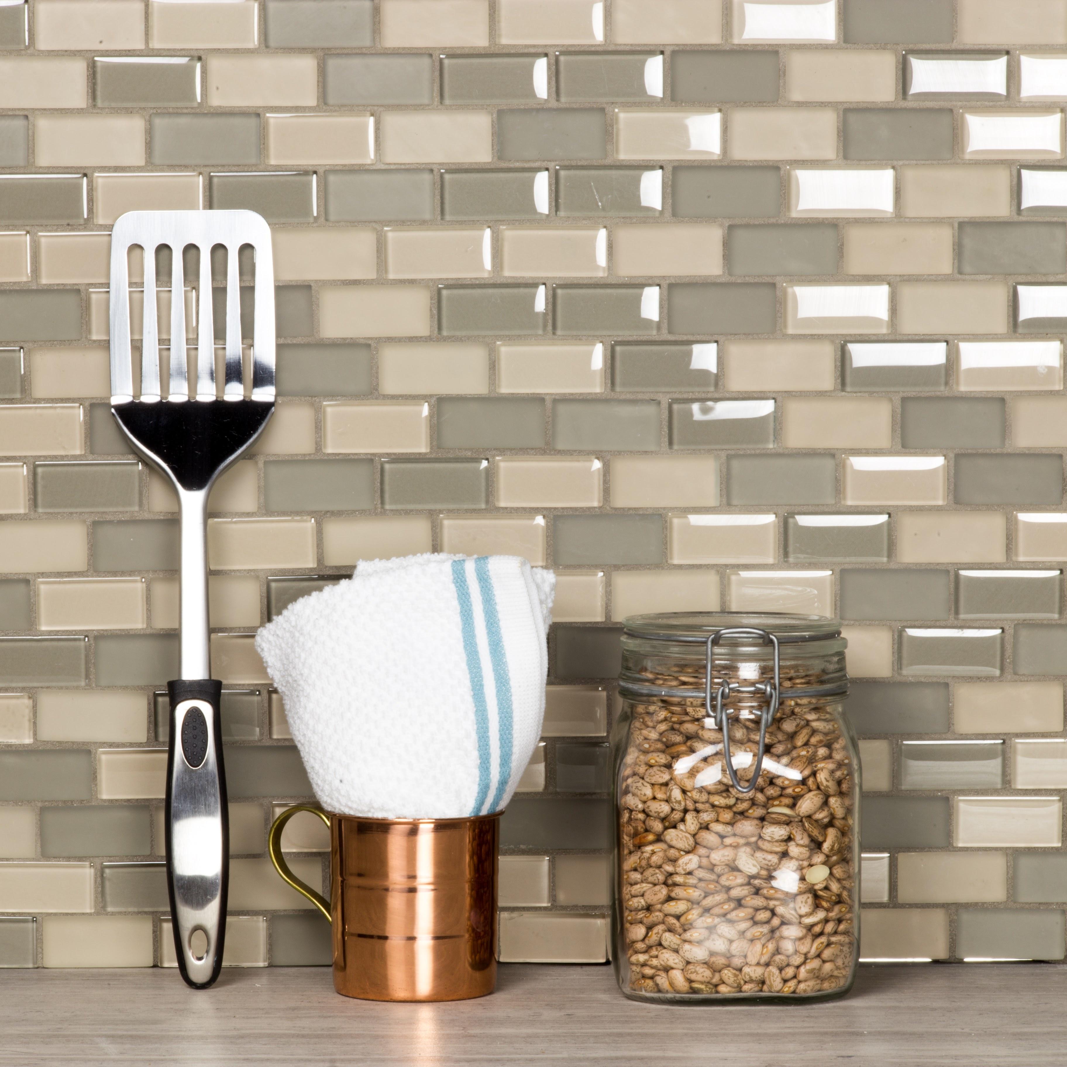 "Free Flow 1"" x 2"" Multi Finish Beige Glass Brick Backsplash Mosaic Wall & Floor Tile"