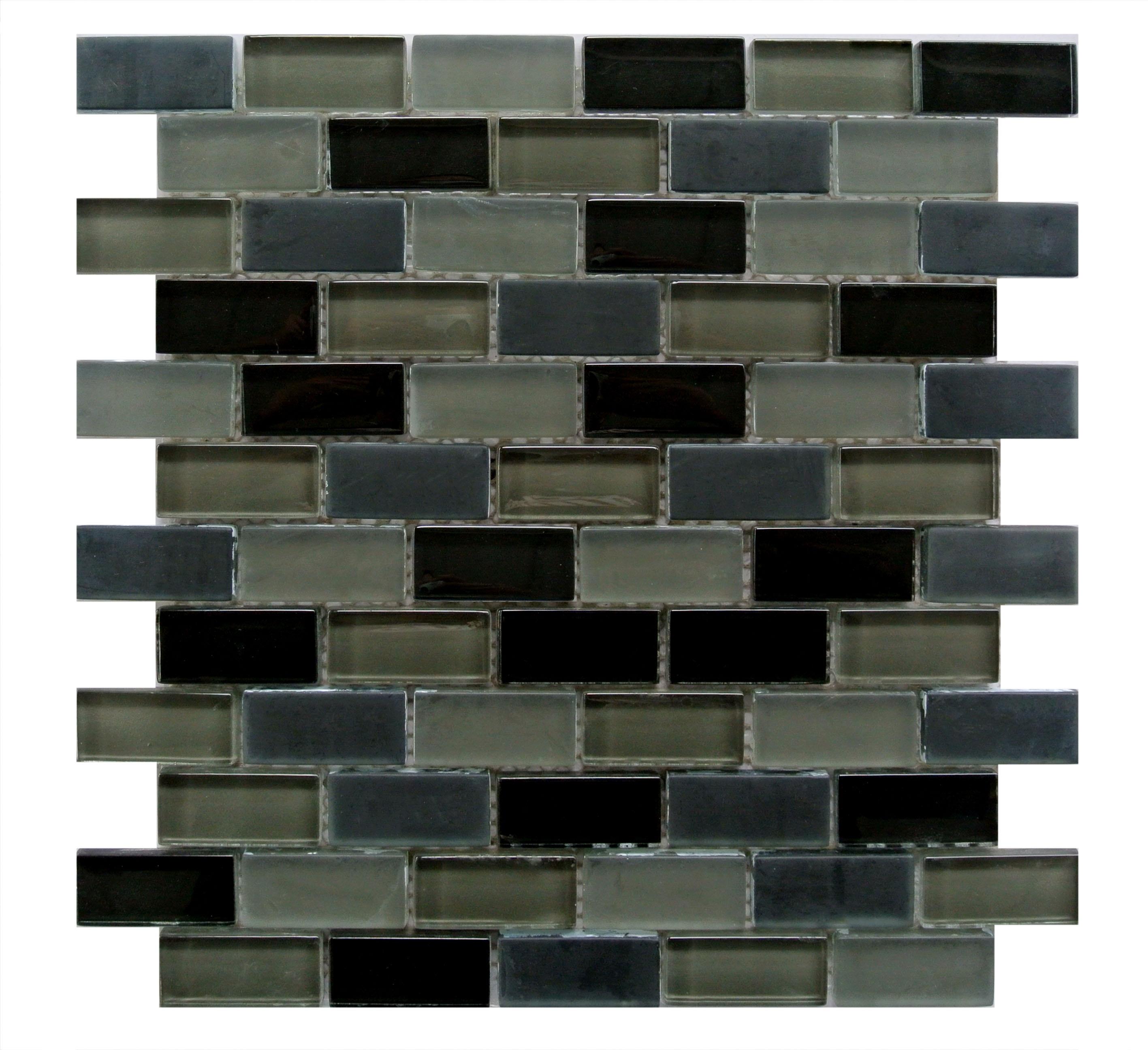 "Free Flow 1"" x 2"" Multi Finish Black Glass Brick Backsplash Mosaic Wall & Floor Tile"
