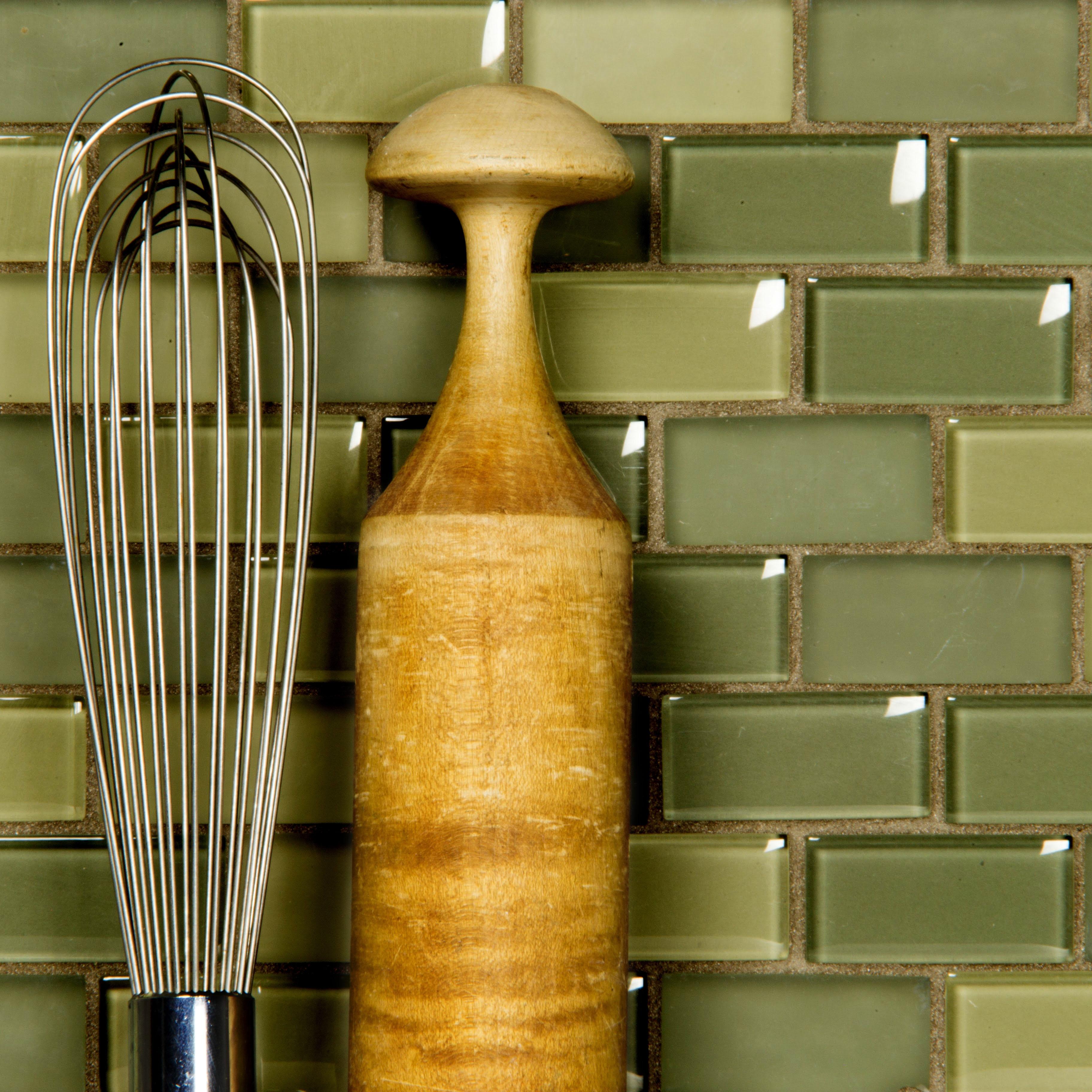"Free Flow 1"" x 2"" Multi Finish Green Glass Brick Backsplash Mosaic Wall & Floor Tile"