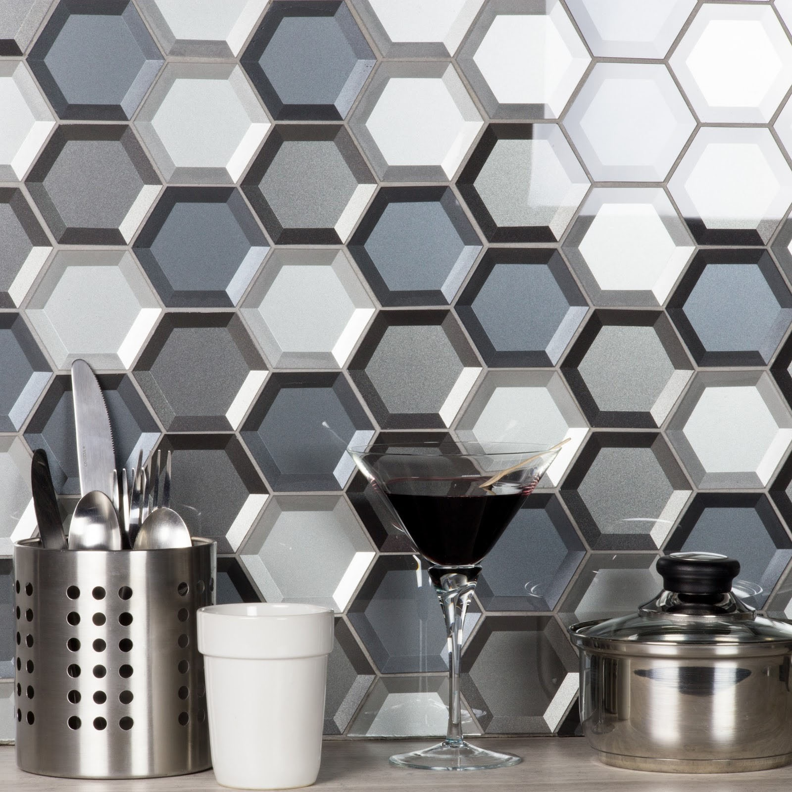 """Forever 3"""" x 3"""" Beveled Gray Glass Hexagon Backsplash Mosaic Wall Tile"""