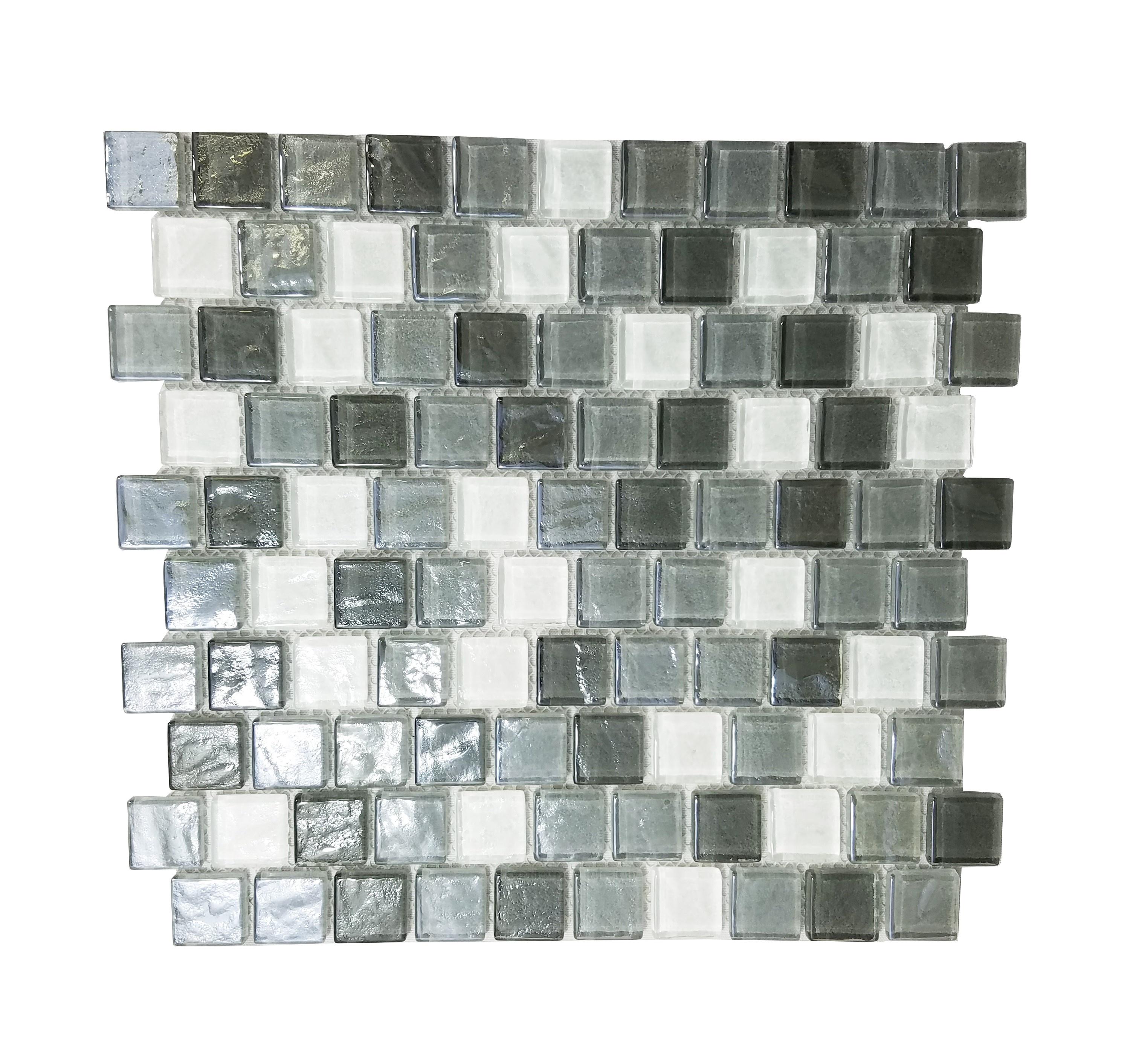 "Geo 1"" x 1"" Textured Gray Glass Square Backsplash Mosaic Wall Tile"