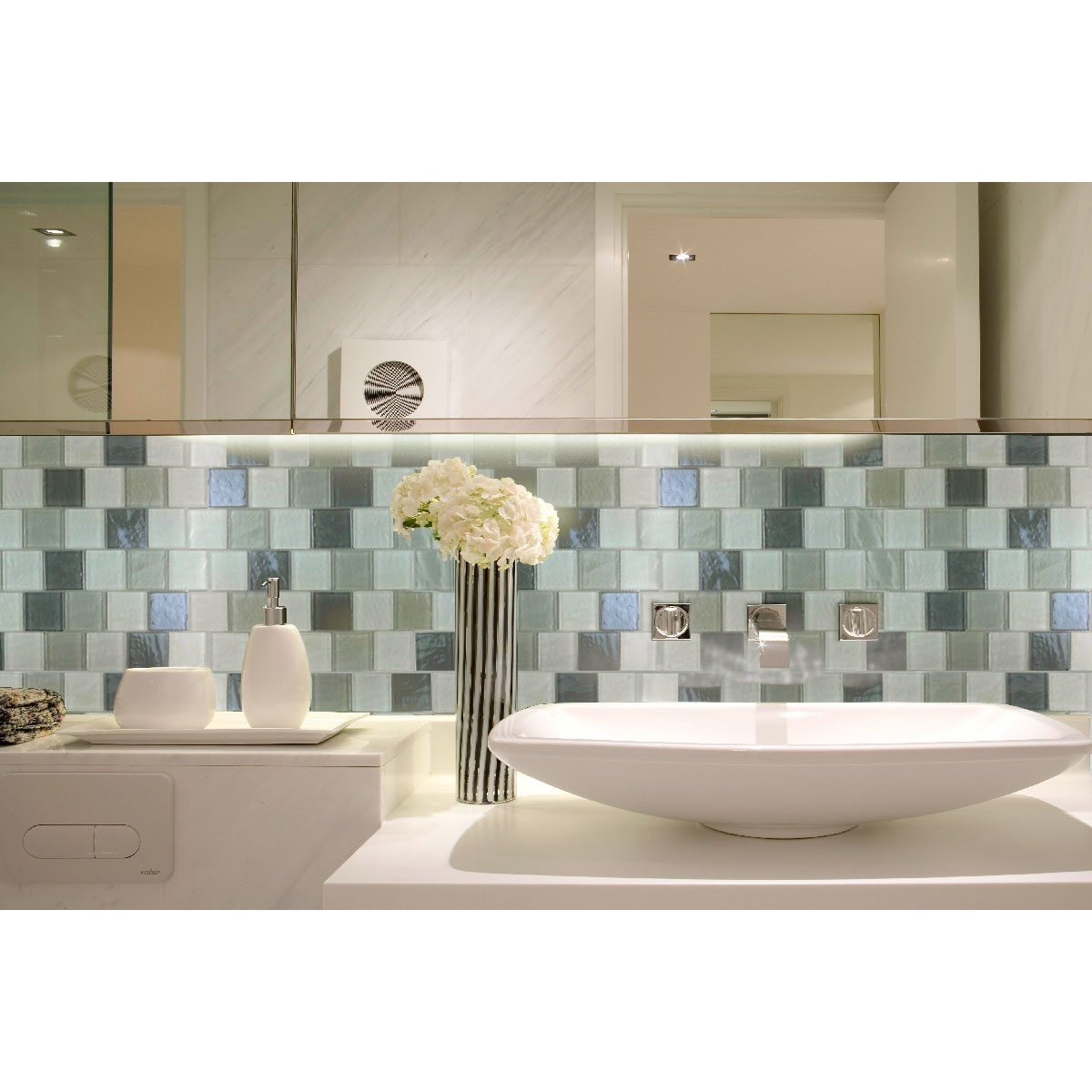 "Geo 2"" x 2"" Textured Gray Glass Brick Backsplash Mosaic Wall Tile"