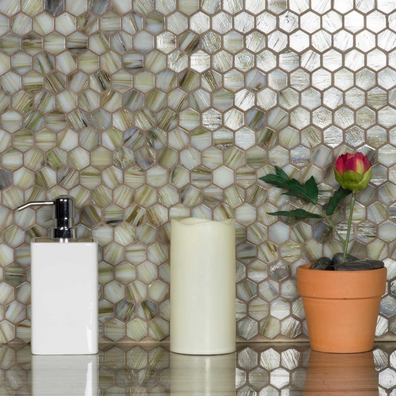 "Hexagon 1"" x 1"" Semi-Gloss Beige Glass Hexagon Backsplash Mosaic Wall & Floor Tile"