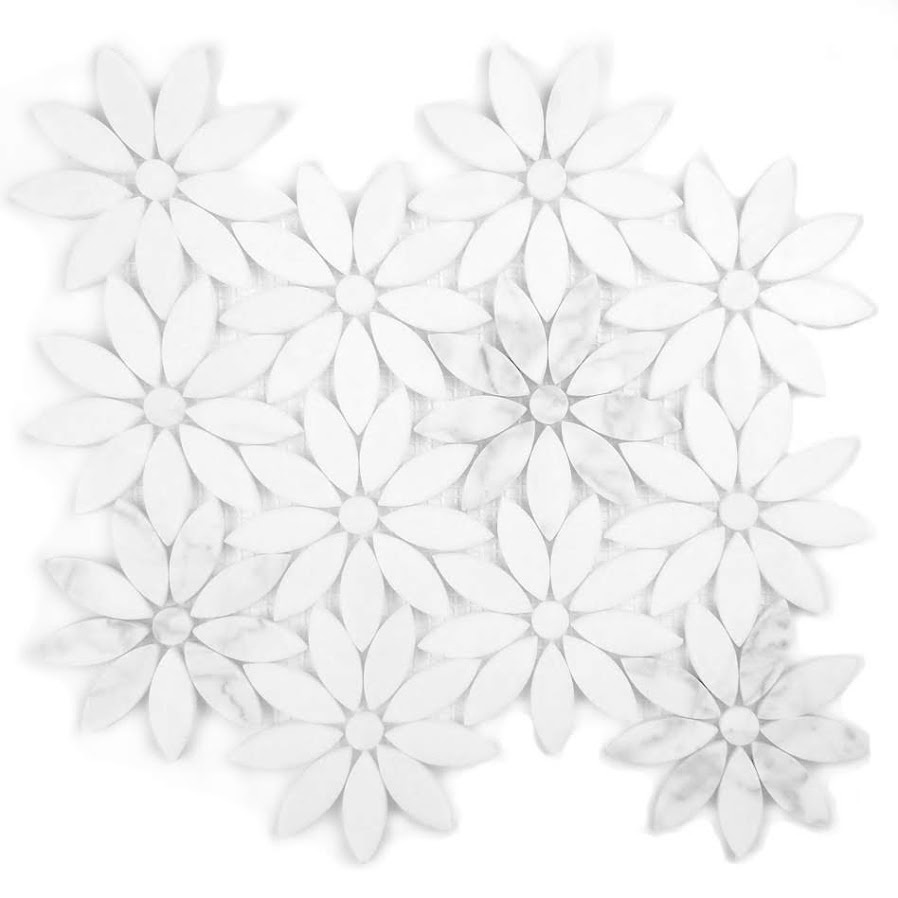 "Marble 4"" x 4"" Semi-Gloss White Marble Flower Waterjet Backsplash Mosaic Wall & Floor Tile"