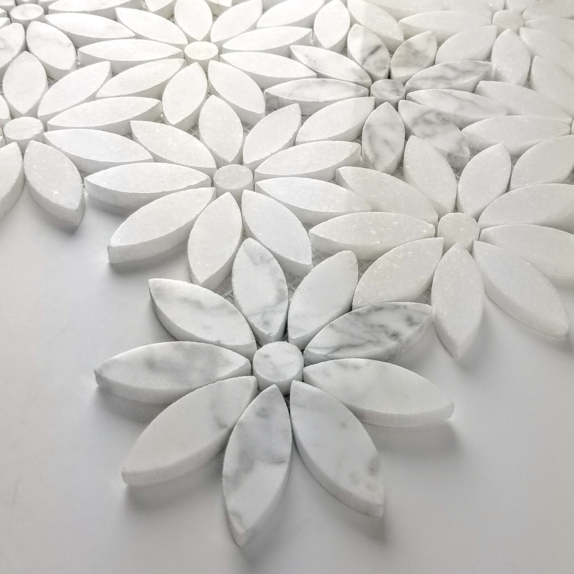 - Marble 4 In X 4 In Marble Flower Waterjet Mosaic In CARRARA WHITE