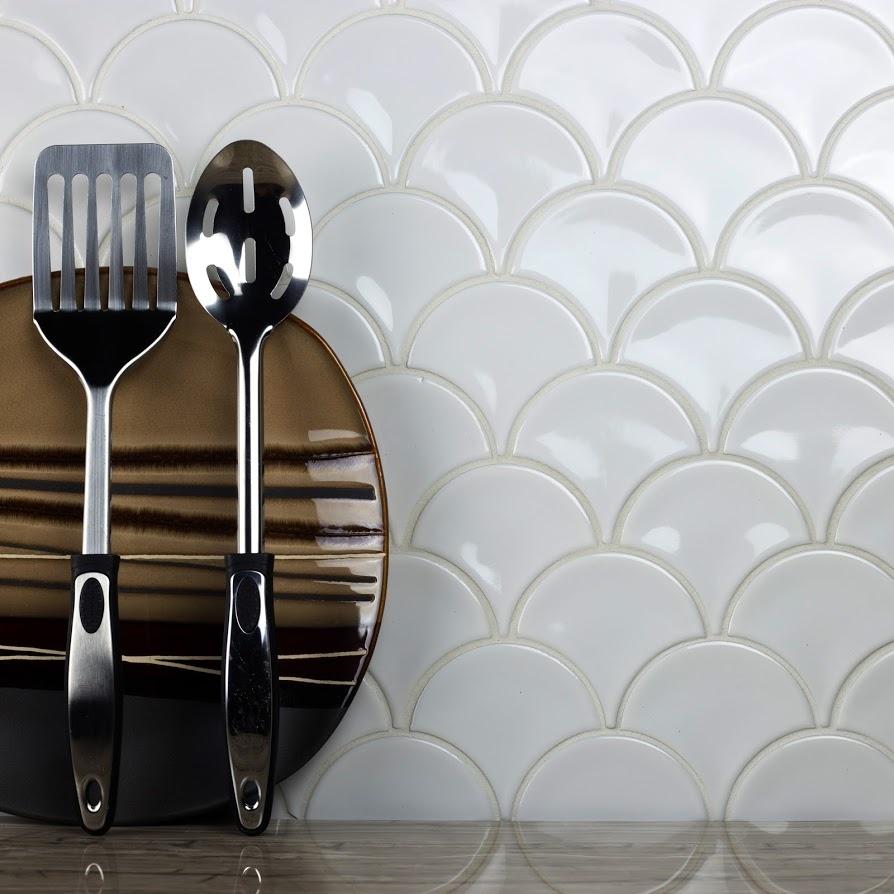 "Monet 3.43"" x 3.7"" Glossy White Porcelain Fish Scale Backsplash Mosaic Wall Tile"
