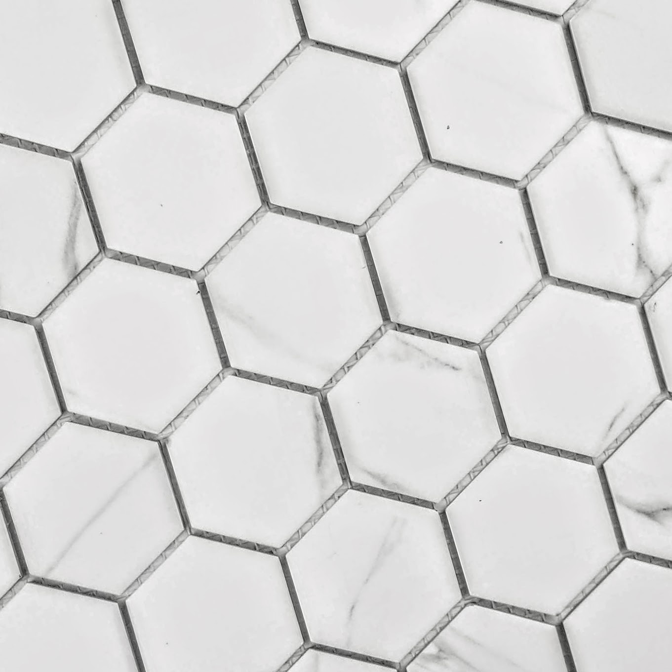 "Monet 2"" x 2"" Matte White Porcelain Hexagon Backsplash Mosaic Wall Tile"