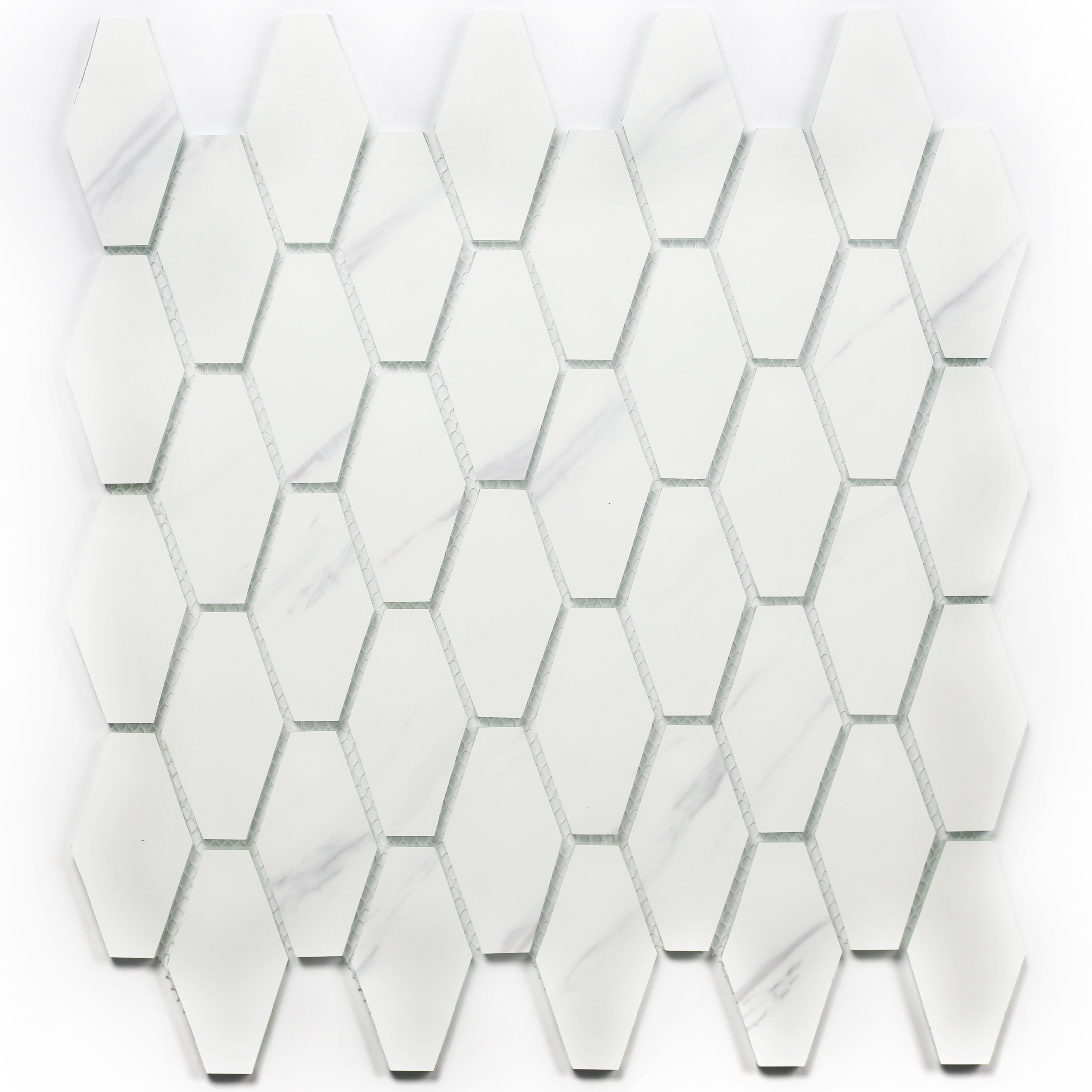 - Musico 1.5 In X 2.875 In Glass Elongated Hexagon Mosaic In CARRARA