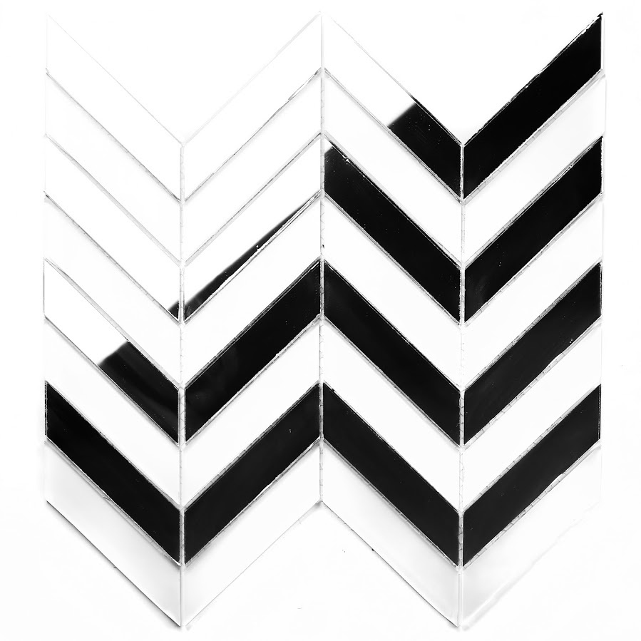 "Musico 1"" x 4"" Multi Finish Silver Glass Herringbone Backsplash Mosaic Wall Tile"