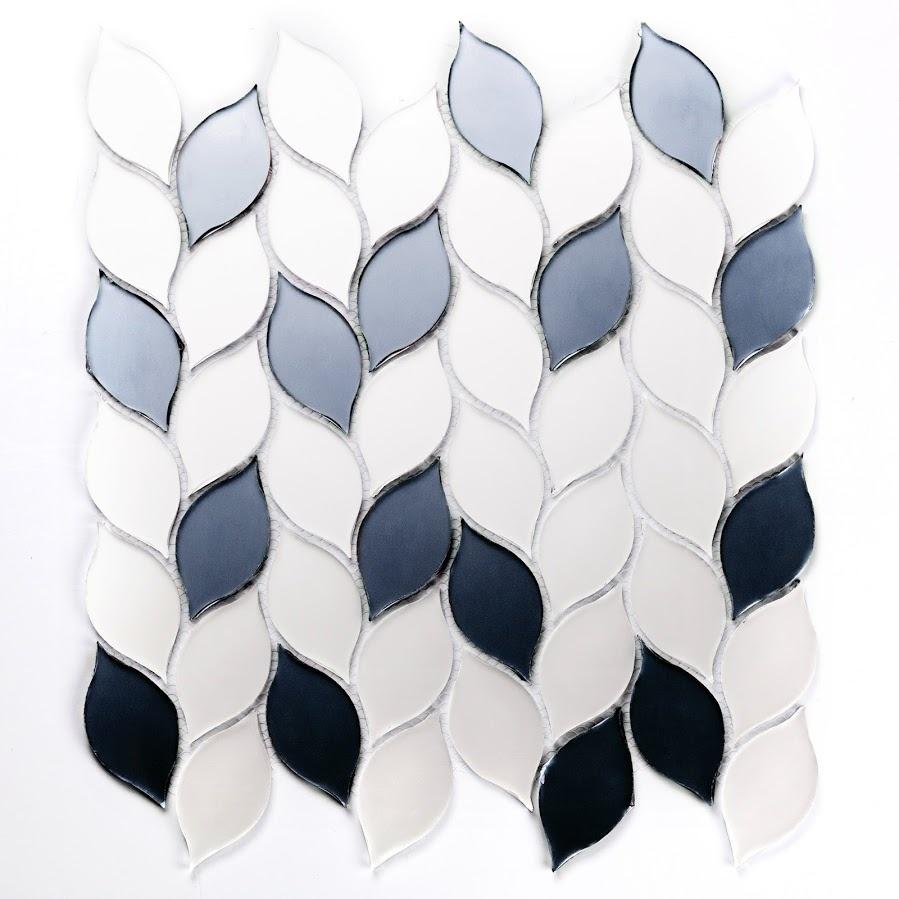 "Musico 1.375"" x 2.625"" Matte Silver Glass Leaf Backsplash Mosaic Wall Tile"