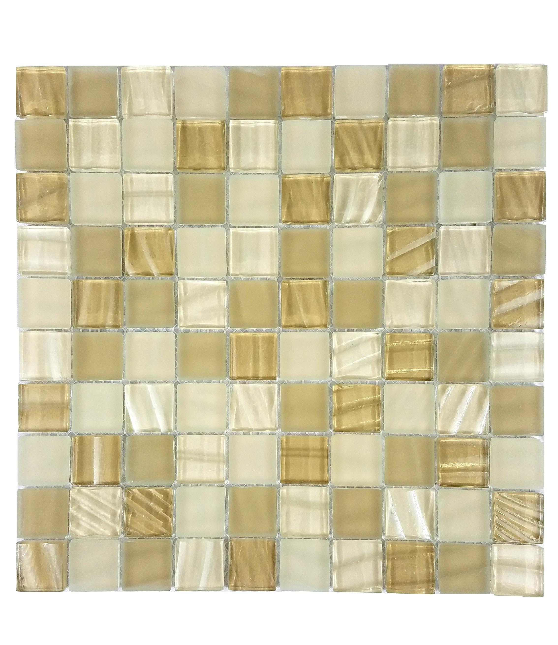 "New Era 1"" x 1"" Glossy Beige Glass Square Backsplash Mosaic Wall & Floor Tile"