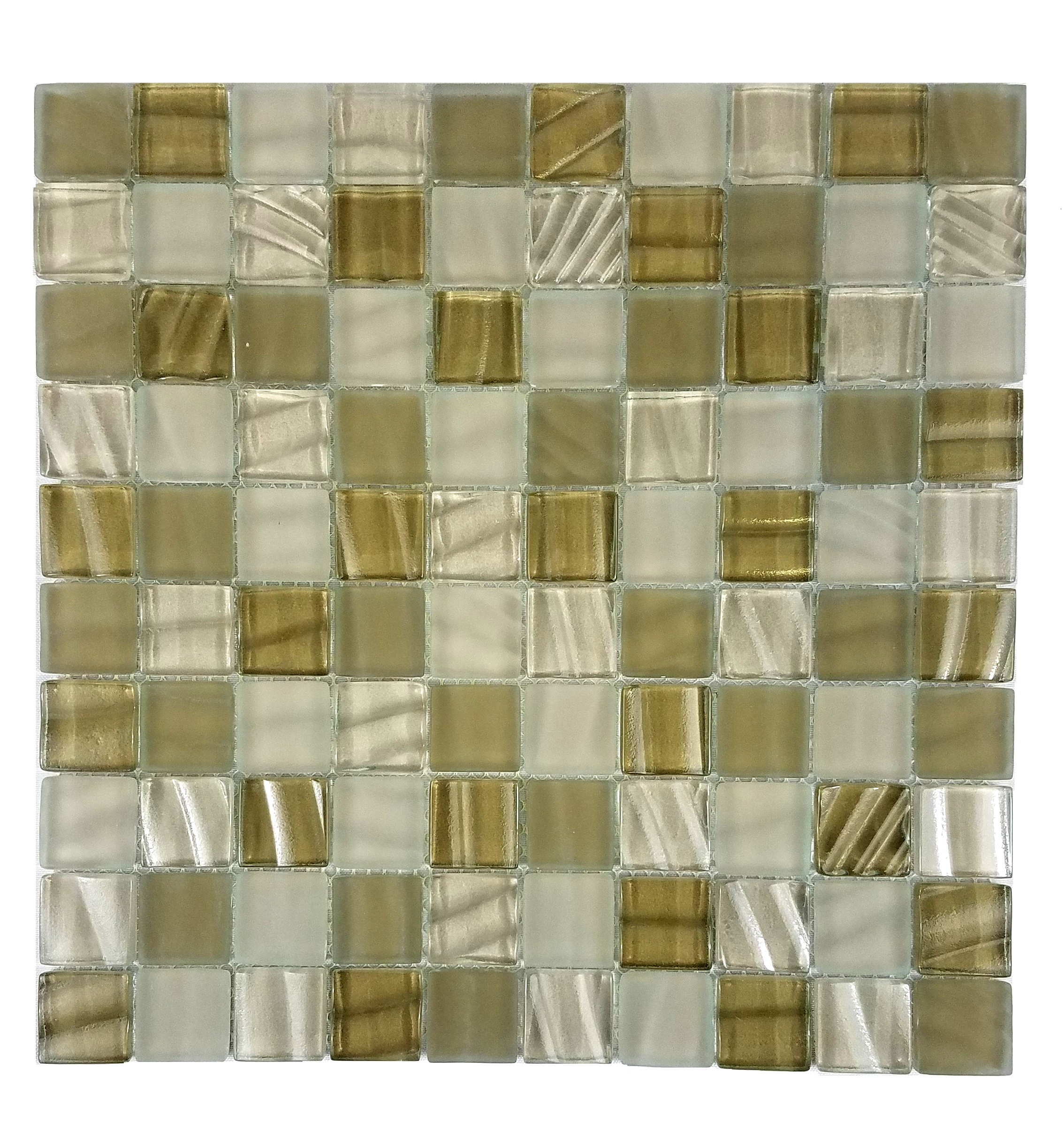 "New Era 1"" x 1"" Glossy Beige Glass Square Backsplash Mosaic Wall & Floor Tile"