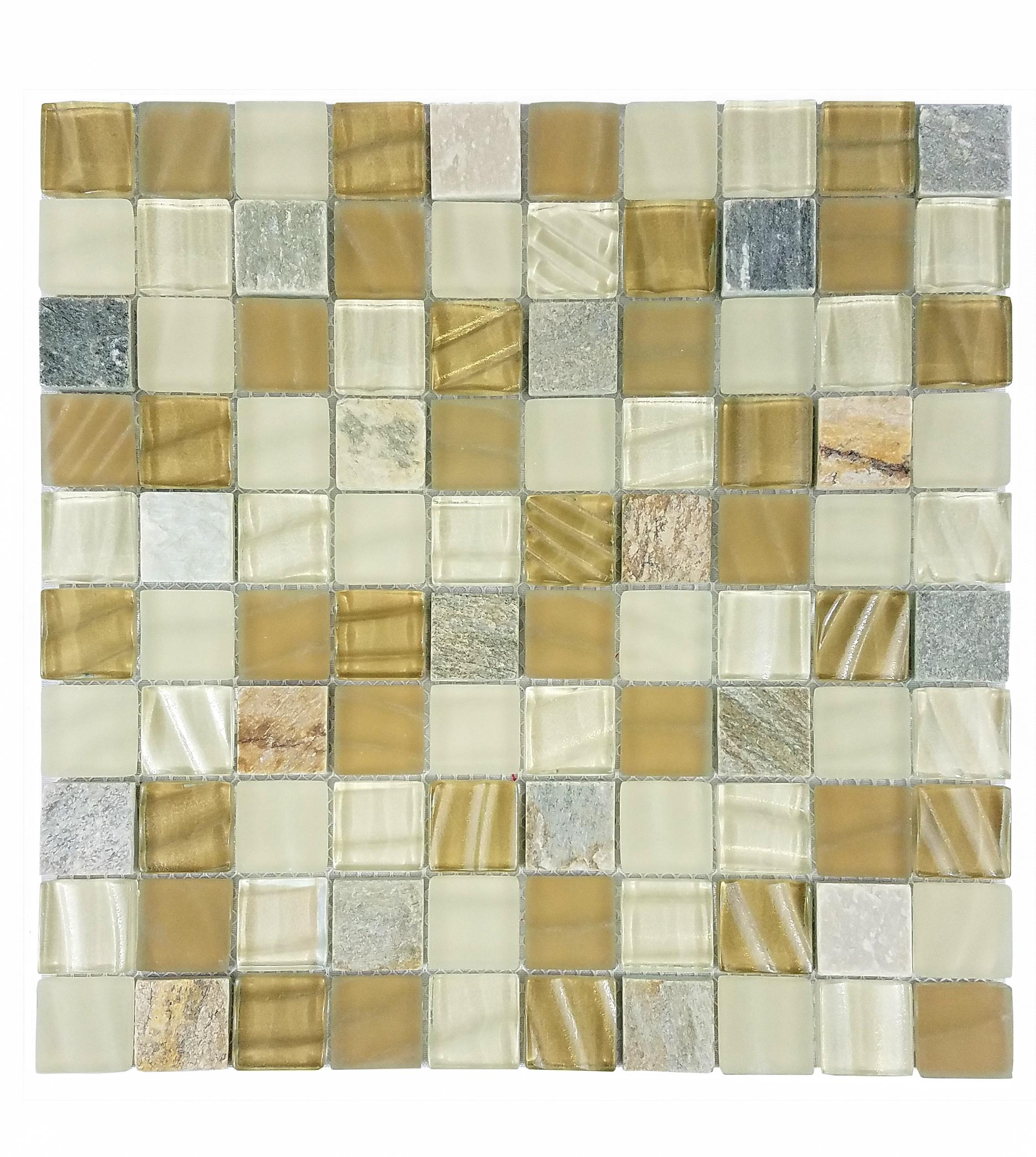 "New Era II 1"" x 1"" Multi Finish Beige Glass and Stone Square Backsplash Mosaic Wall & Floor Tile"