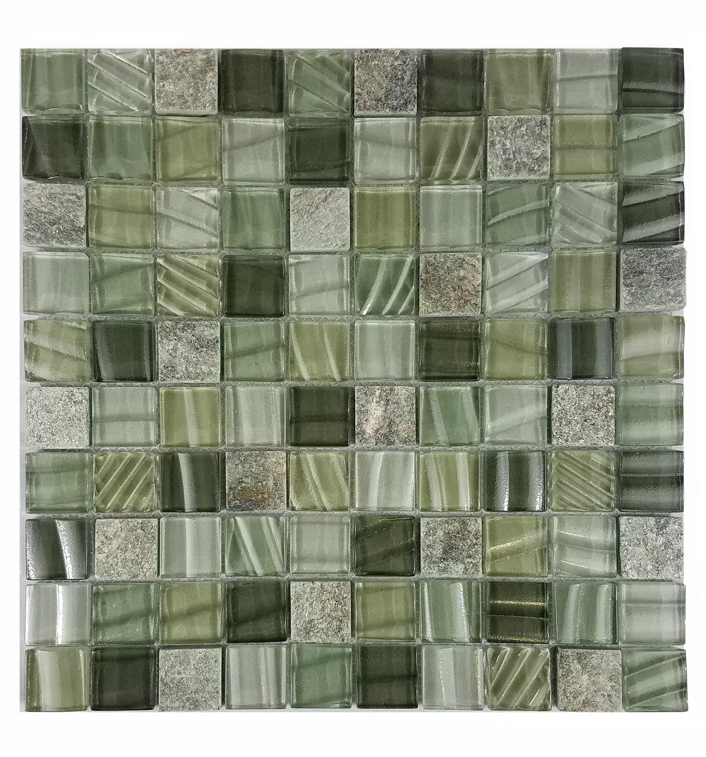 "New Era II 1"" x 1"" Multi Finish Green Glass and Stone Square Backsplash Mosaic Wall & Floor Tile"