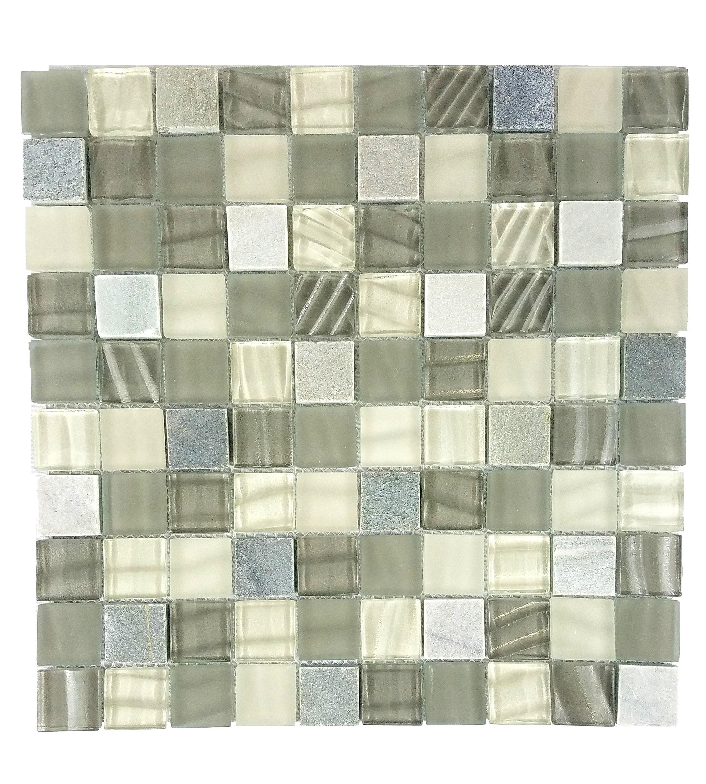 "New Era II 1"" x 1"" Multi Finish Gray Glass and Stone Square Backsplash Mosaic Wall & Floor Tile"