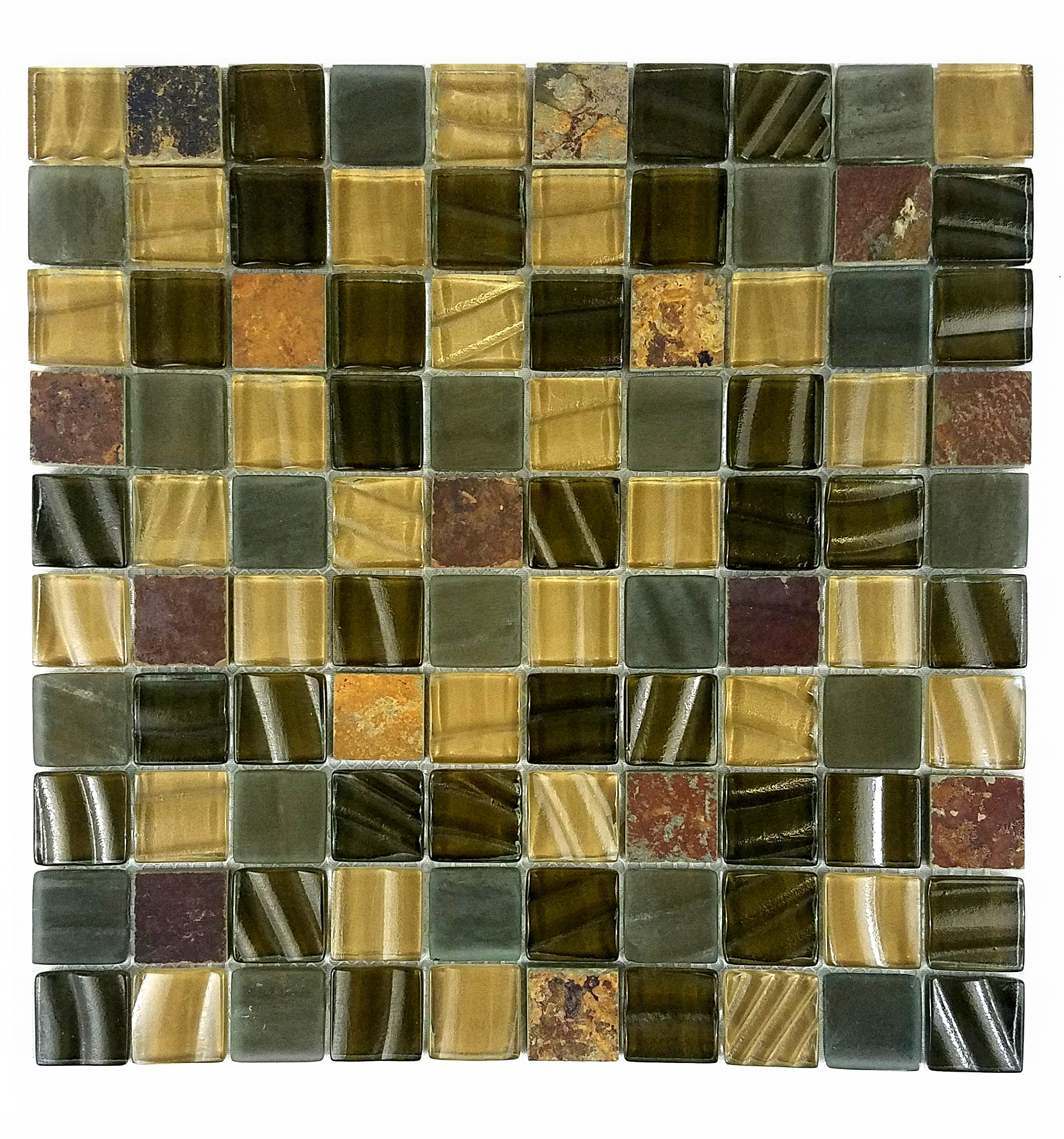 "New Era II 1"" x 1"" Multi Finish Brown Glass and Stone Square Backsplash Mosaic Wall & Floor Tile"