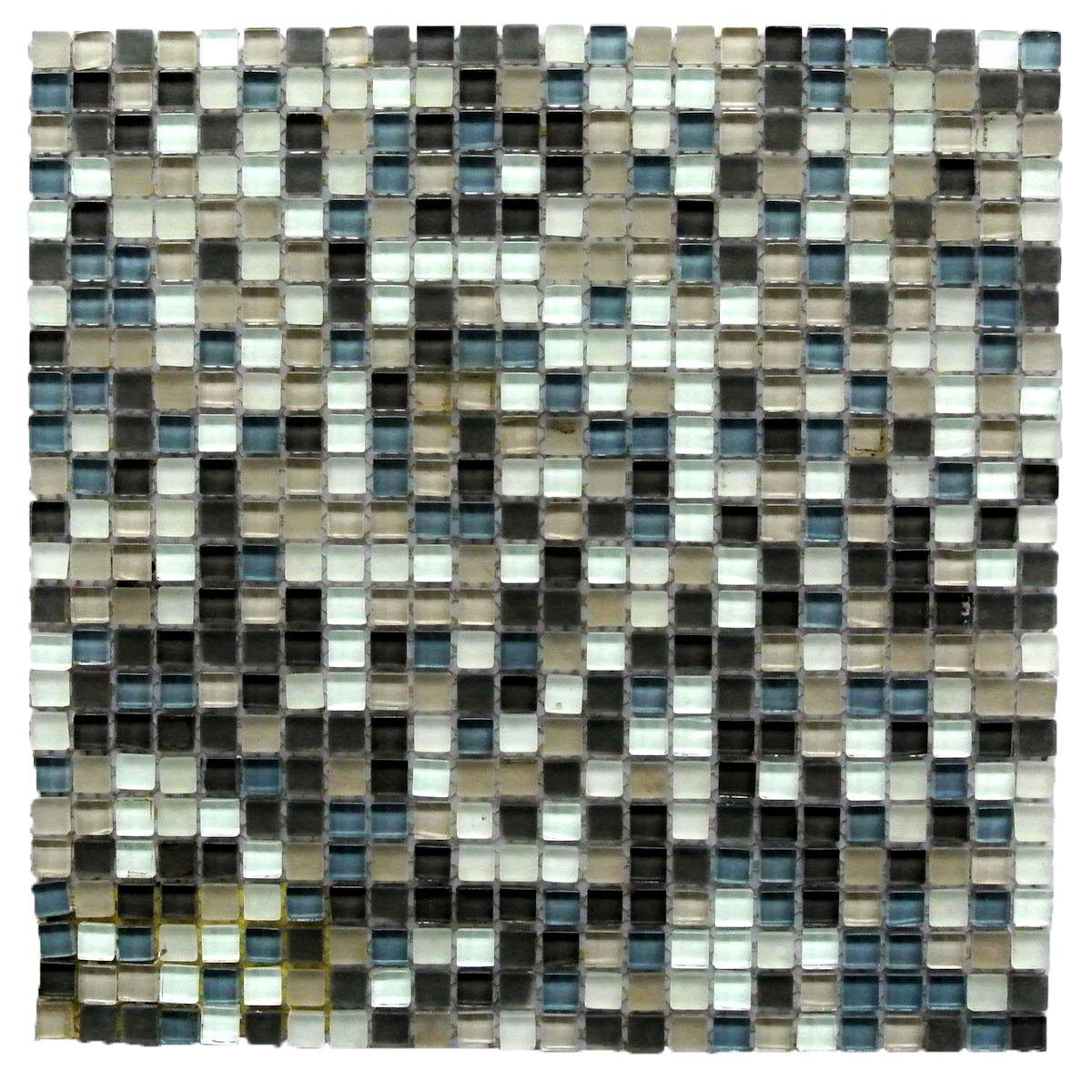 """Petite 0.375"""" x 0.375"""" Multi Finish Blue Glass Square Backsplash Mosaic Wall Tile"""
